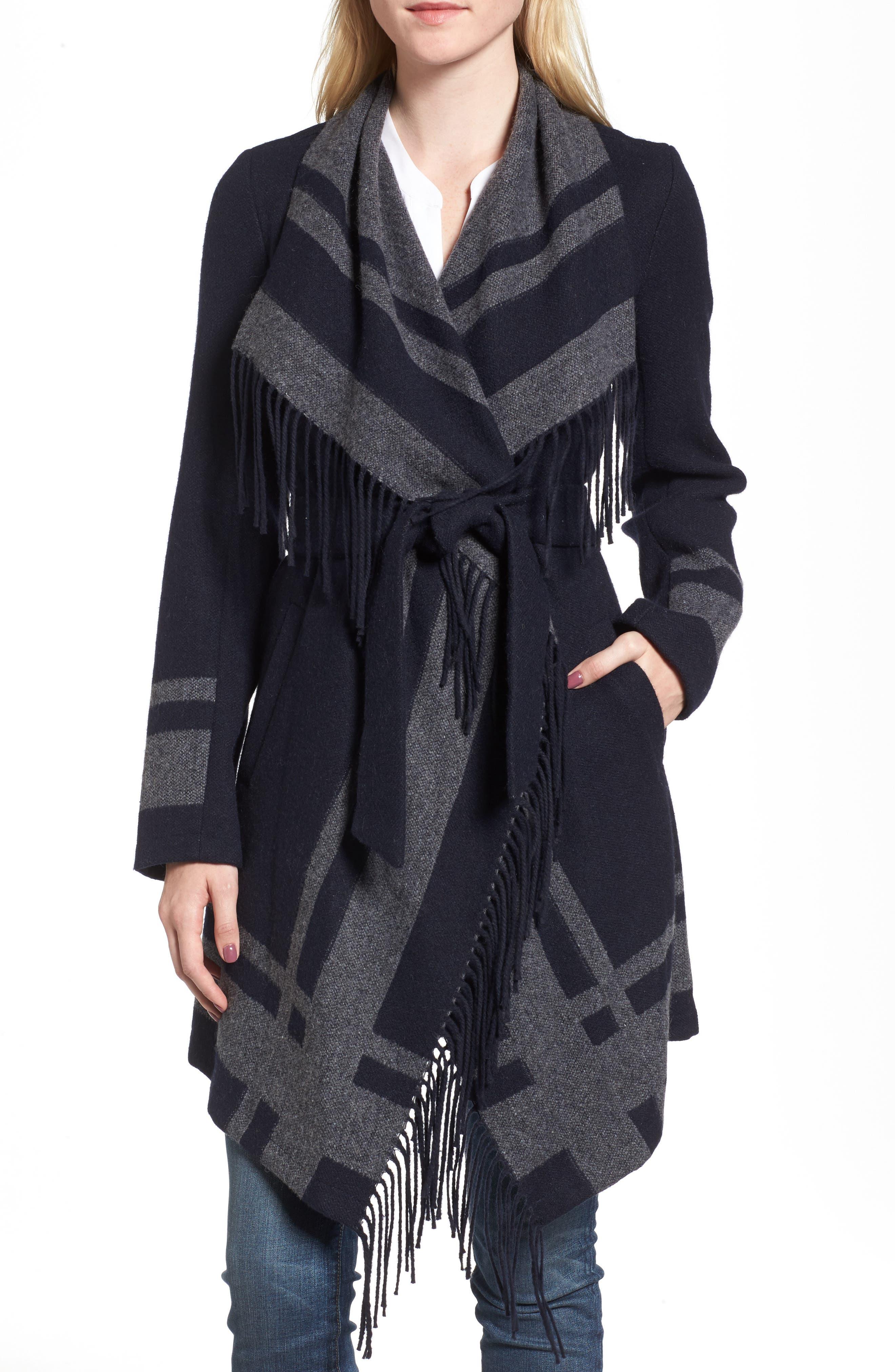 Wrap Coat,                         Main,                         color, Navy/ Charcoal
