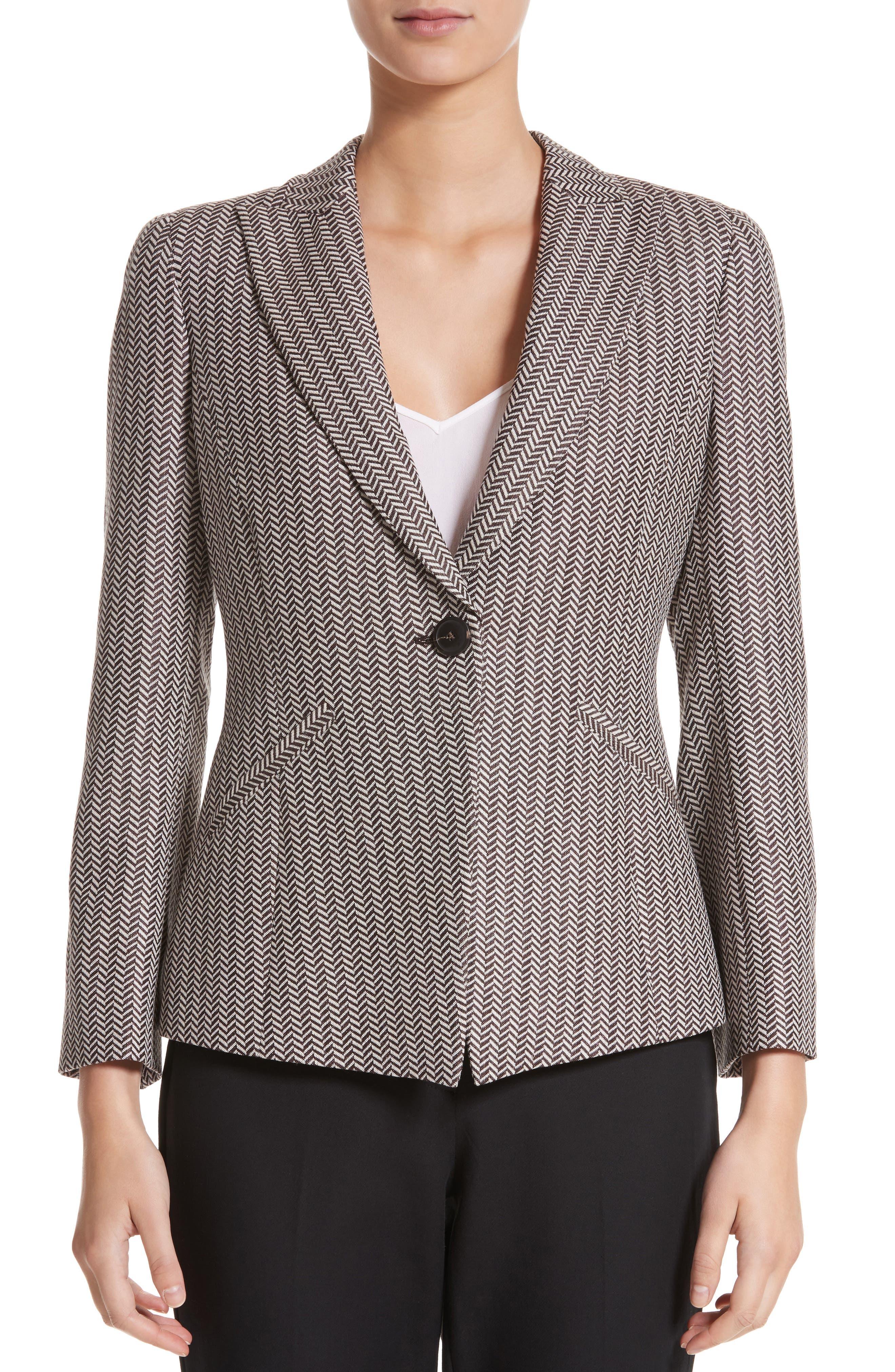 Mini Herringbone Jacket,                         Main,                         color, Beige Multi