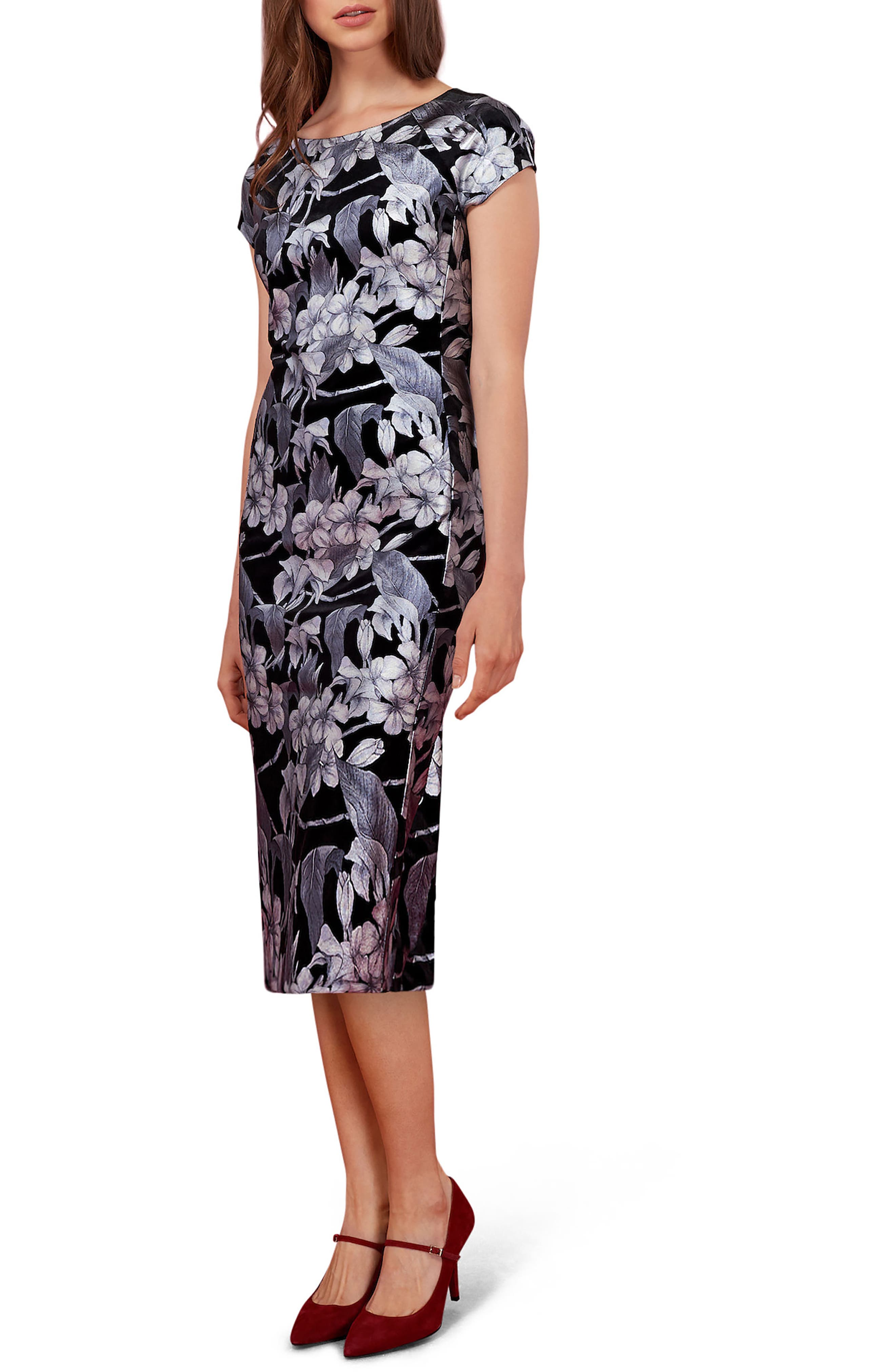 Floral Print Velvet Midi Dress,                         Main,                         color, Black/ Silver
