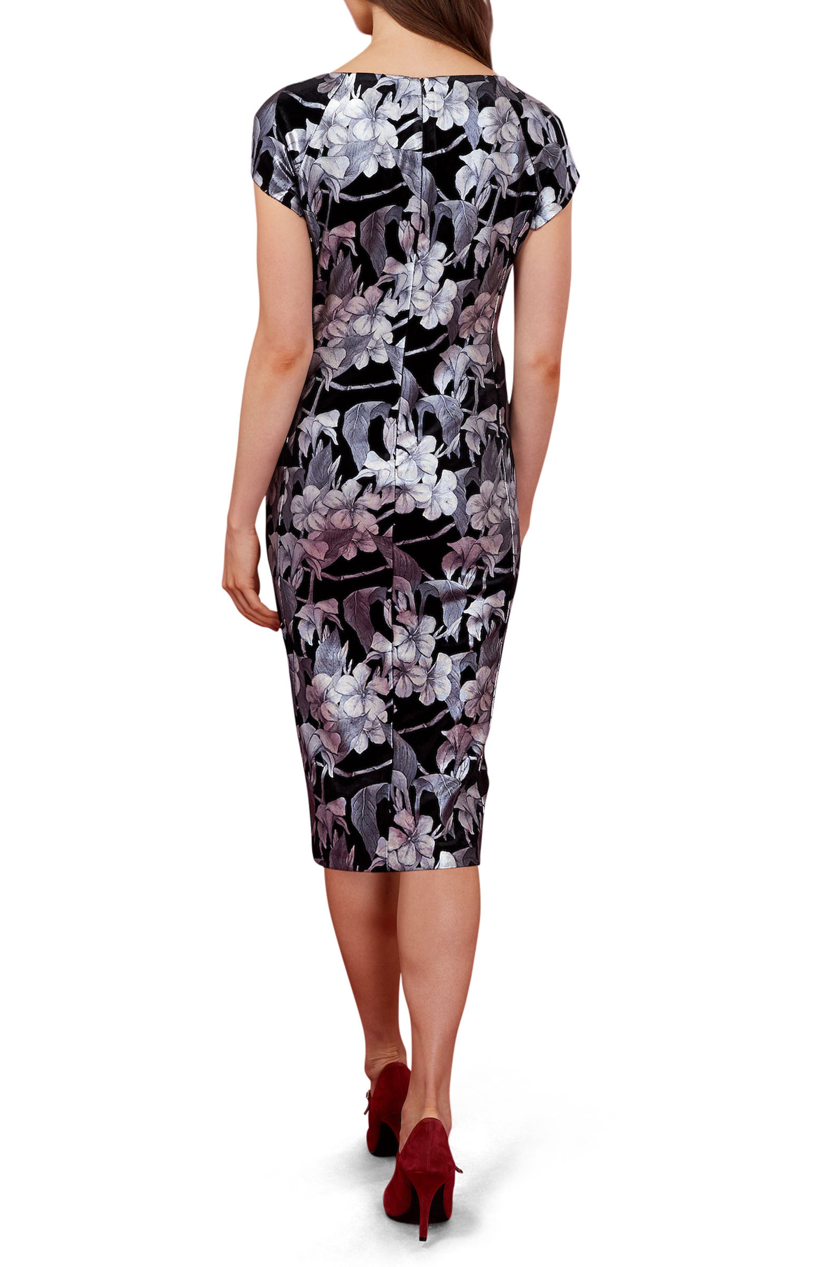 Floral Print Velvet Midi Dress,                             Alternate thumbnail 2, color,                             Black/ Silver