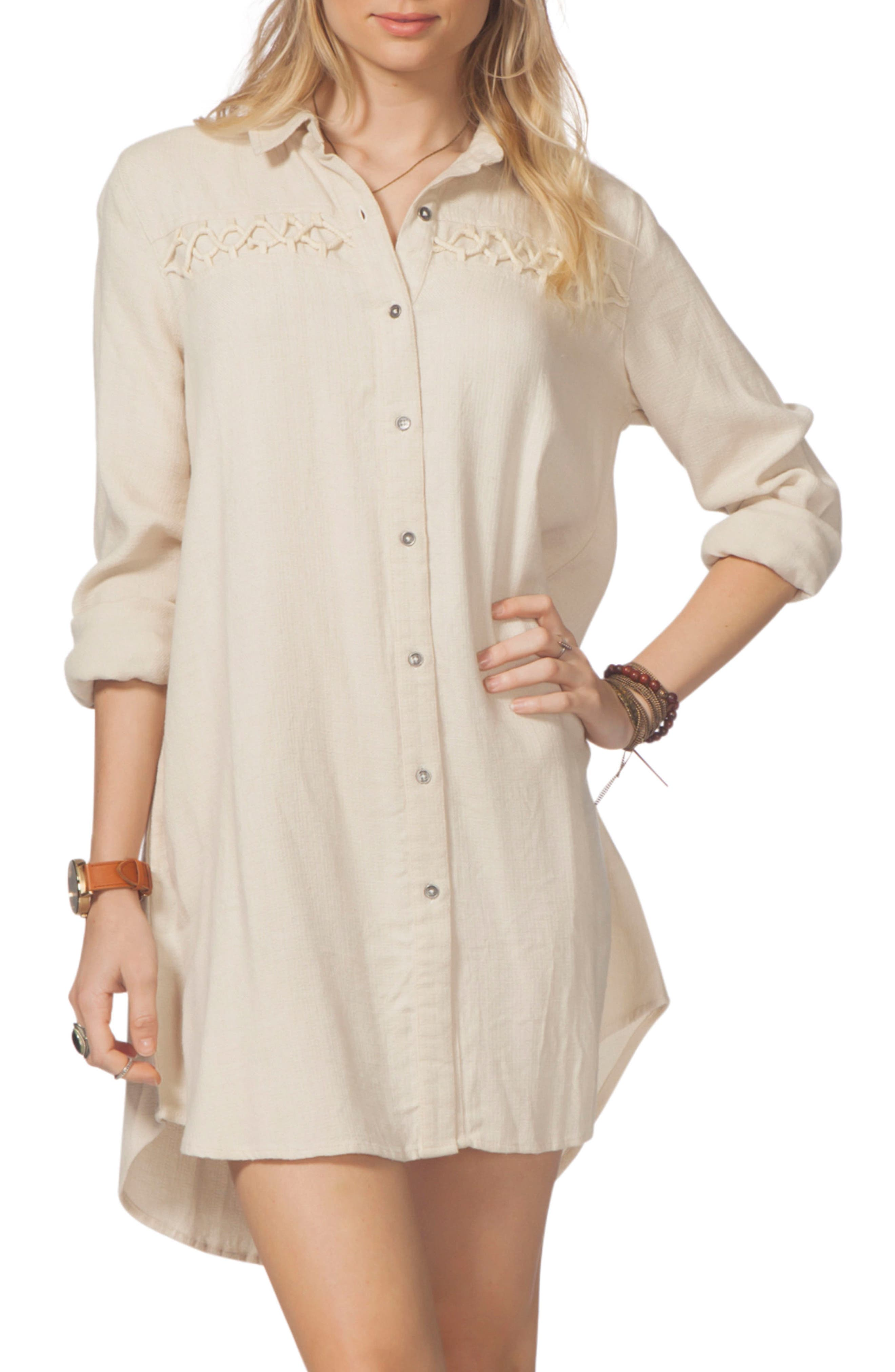 Ri Curl Lizzie Shirtdress,                             Main thumbnail 1, color,                             Vanilla