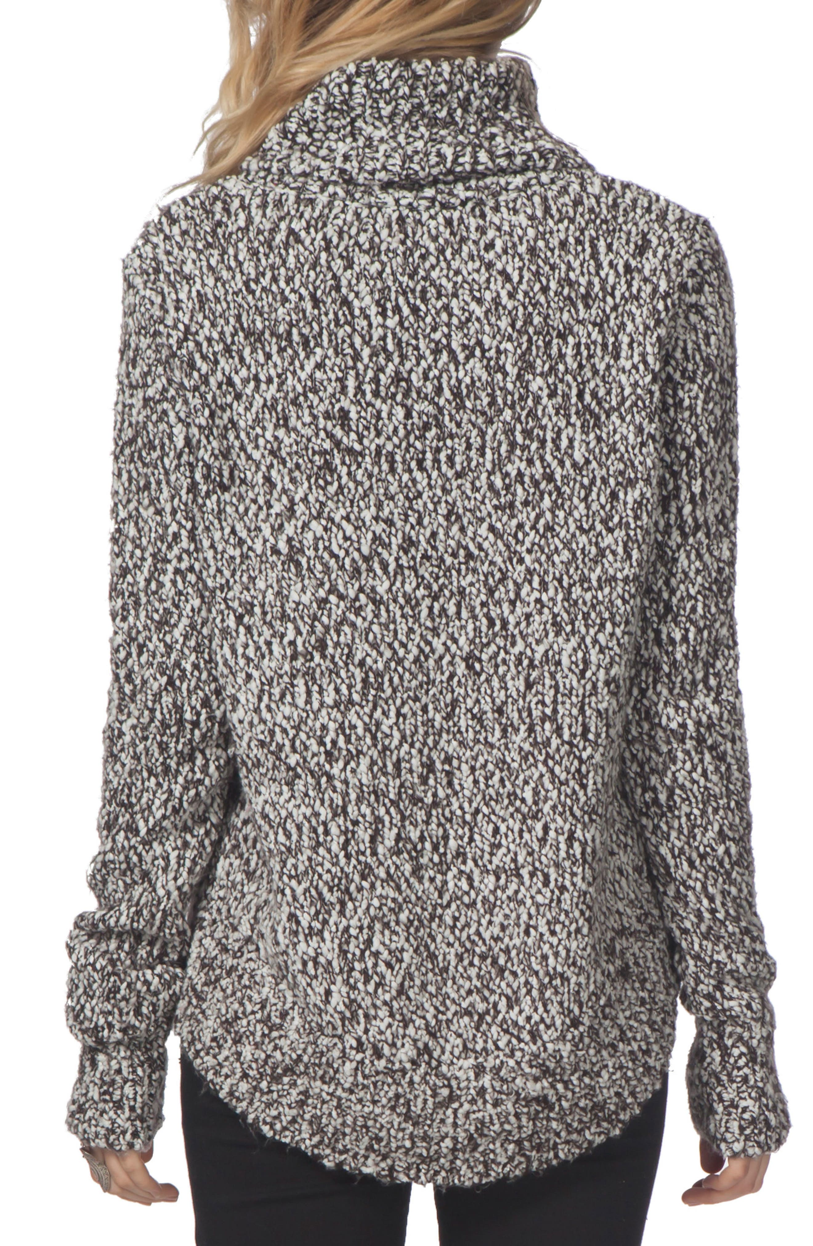 Sailor Turtleneck Sweater,                             Alternate thumbnail 2, color,                             Black/ White