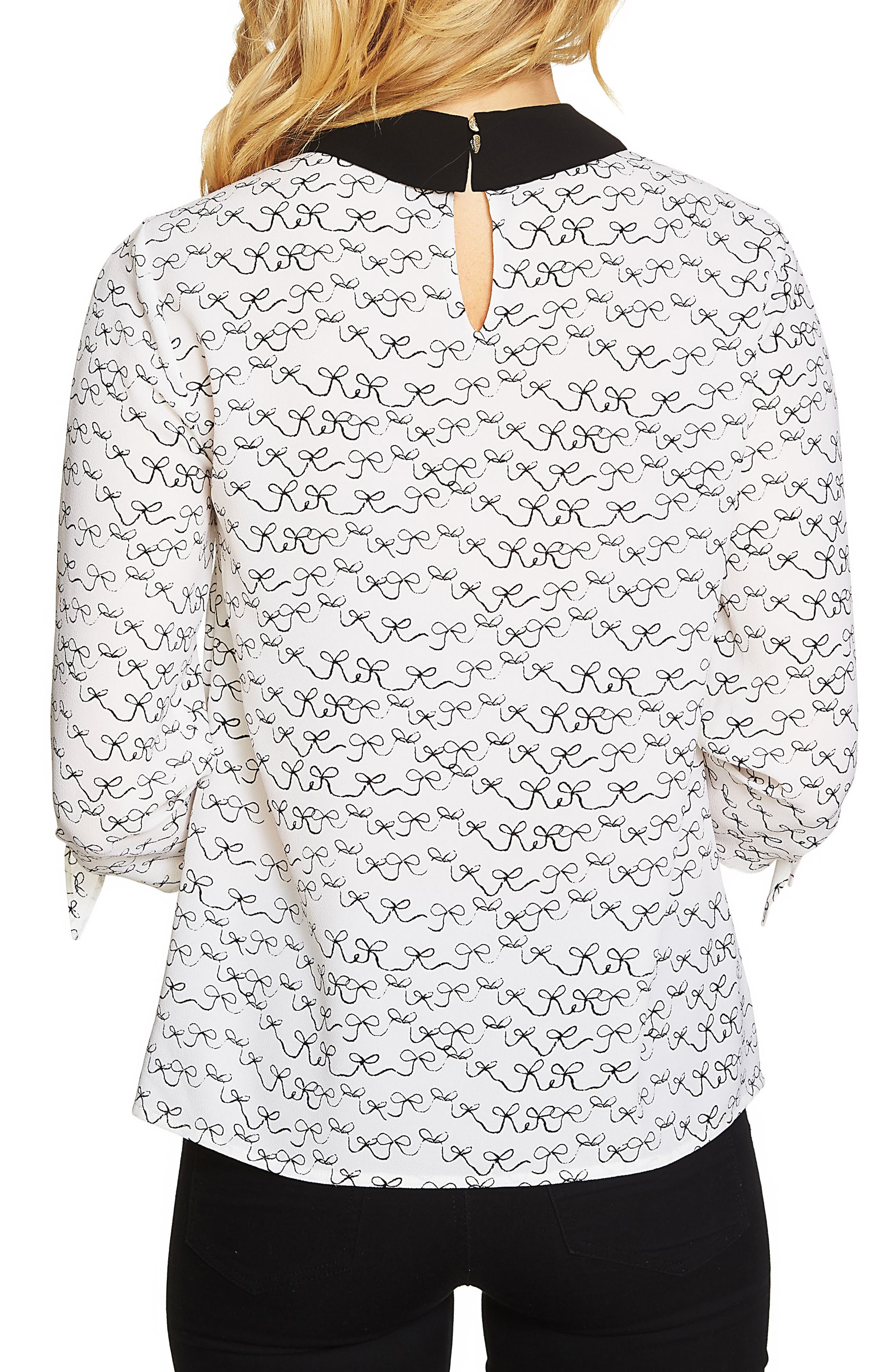 Alternate Image 2  - CeCe Bow Tie Sleeve Collared Blouse