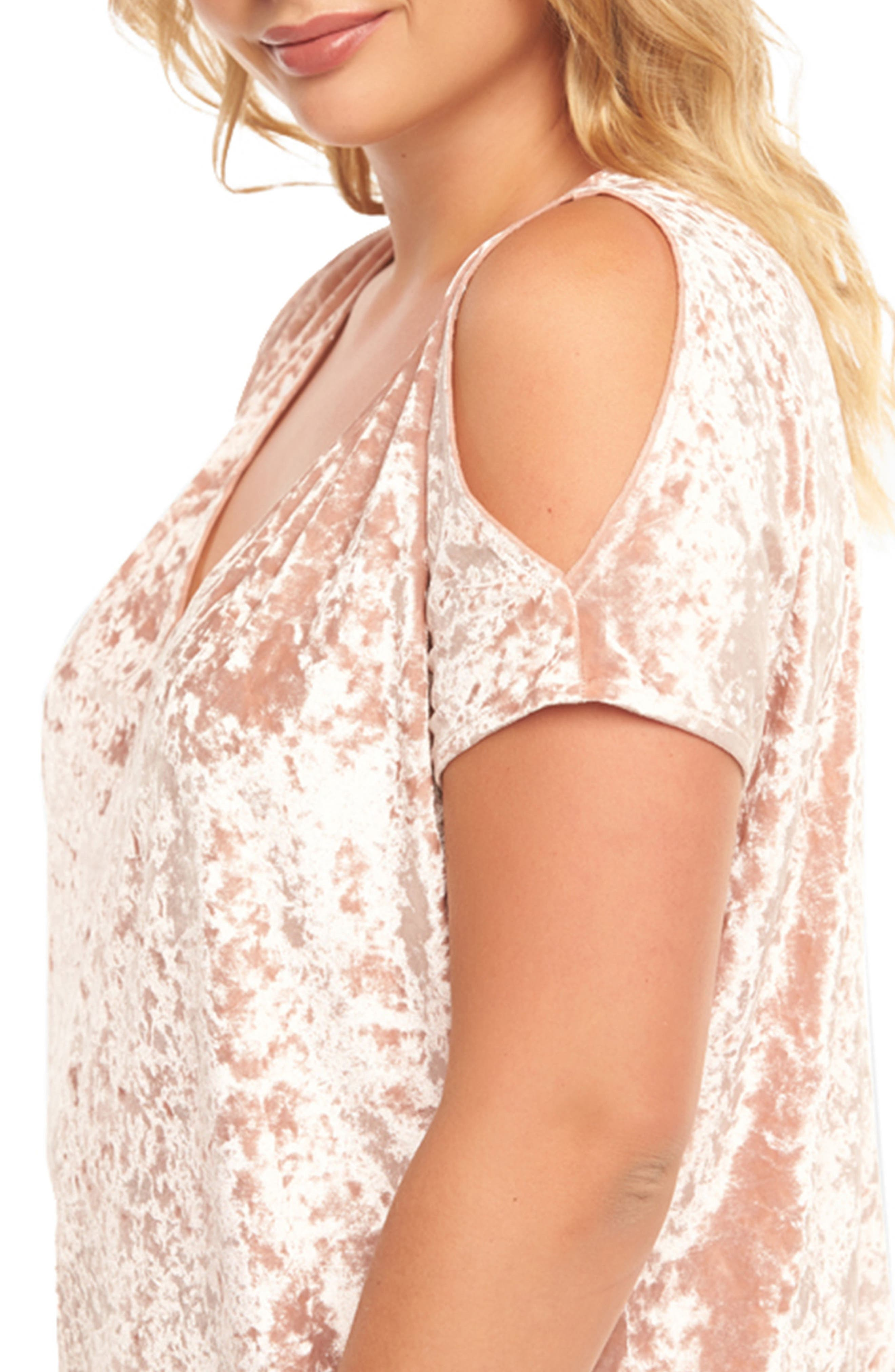 Rocky Cold Shoulder Top,                             Alternate thumbnail 4, color,                             Dusty Rose