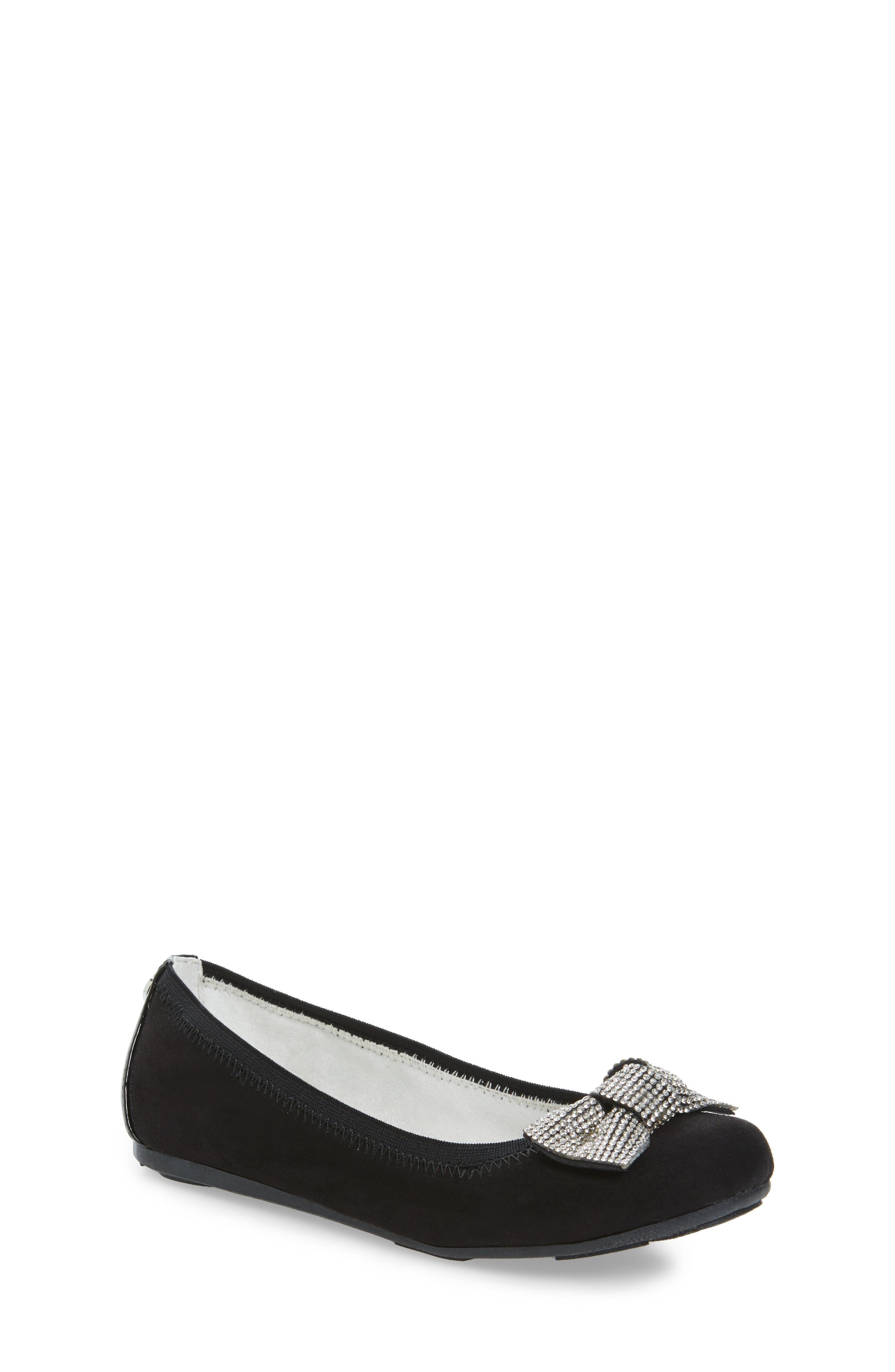 Fannie Glitz Ballet Flat,                         Main,                         color, Black Faux Leather