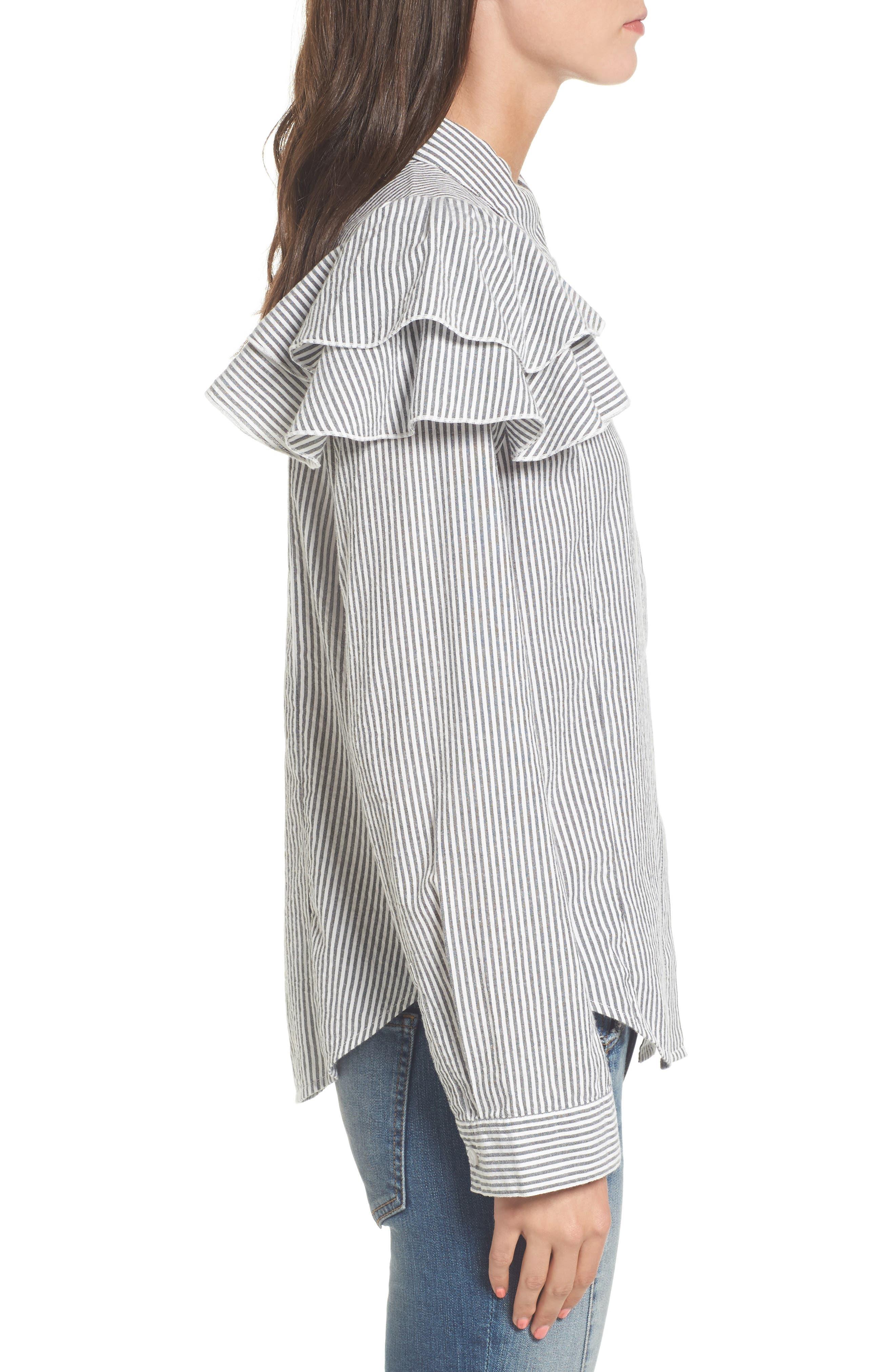 Ruffle Shoulder Shirt,                             Alternate thumbnail 3, color,                             Ivory Egret Katie Stripe