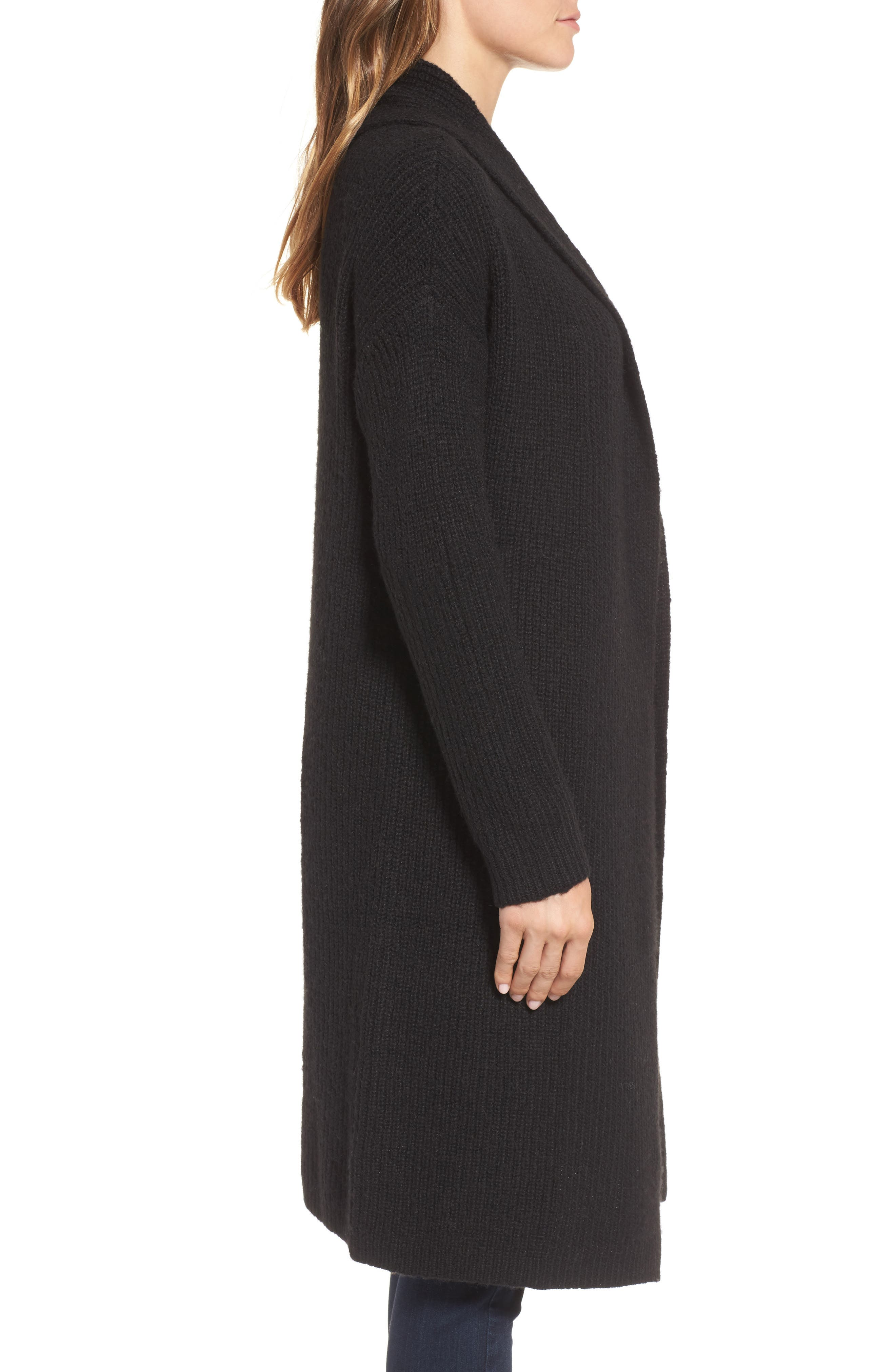 Textured Open Front Cardigan,                             Alternate thumbnail 3, color,                             Black