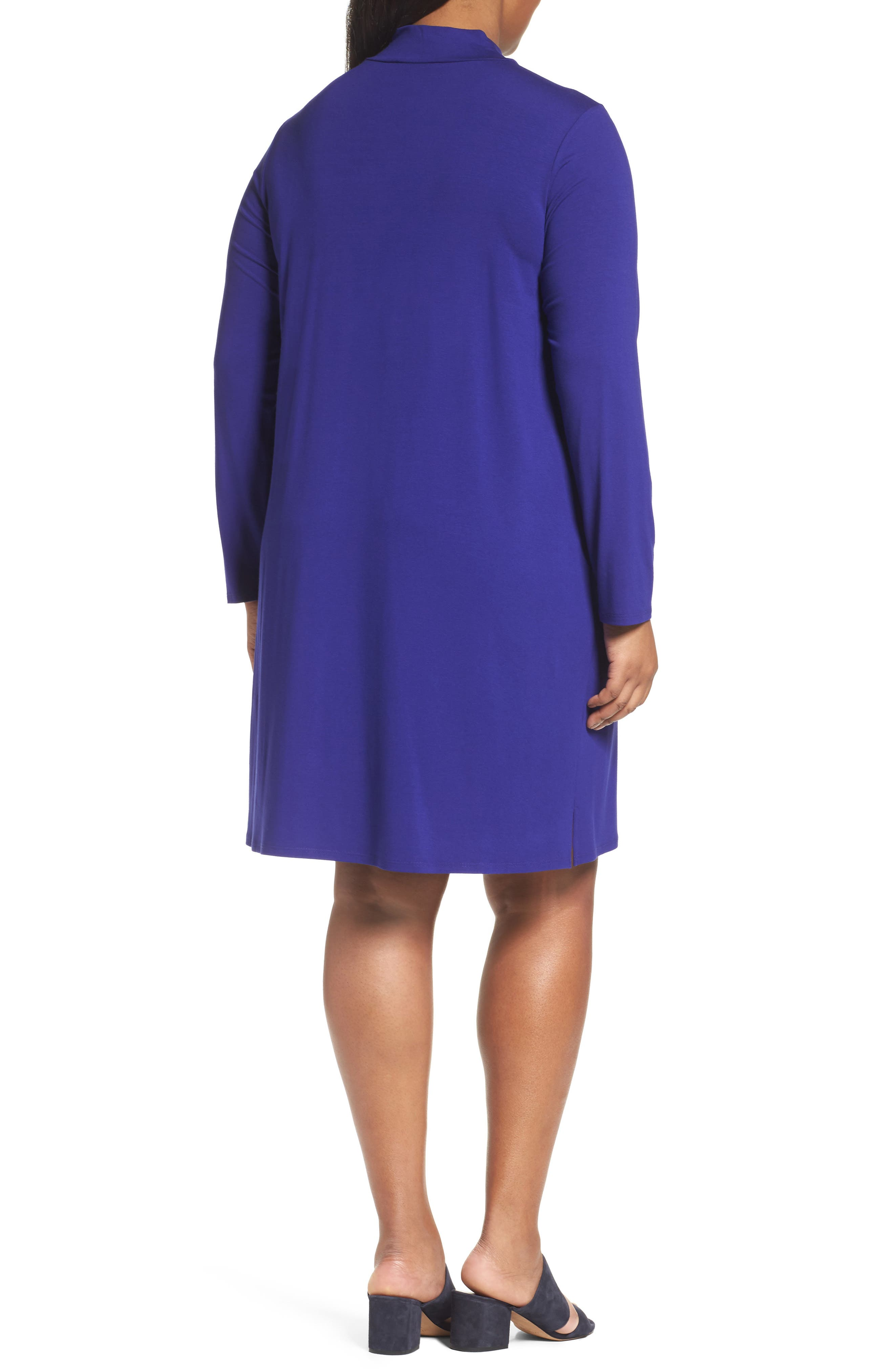 Alternate Image 2  - Eileen Fisher Mock Neck Shift Dress (Plus Size)