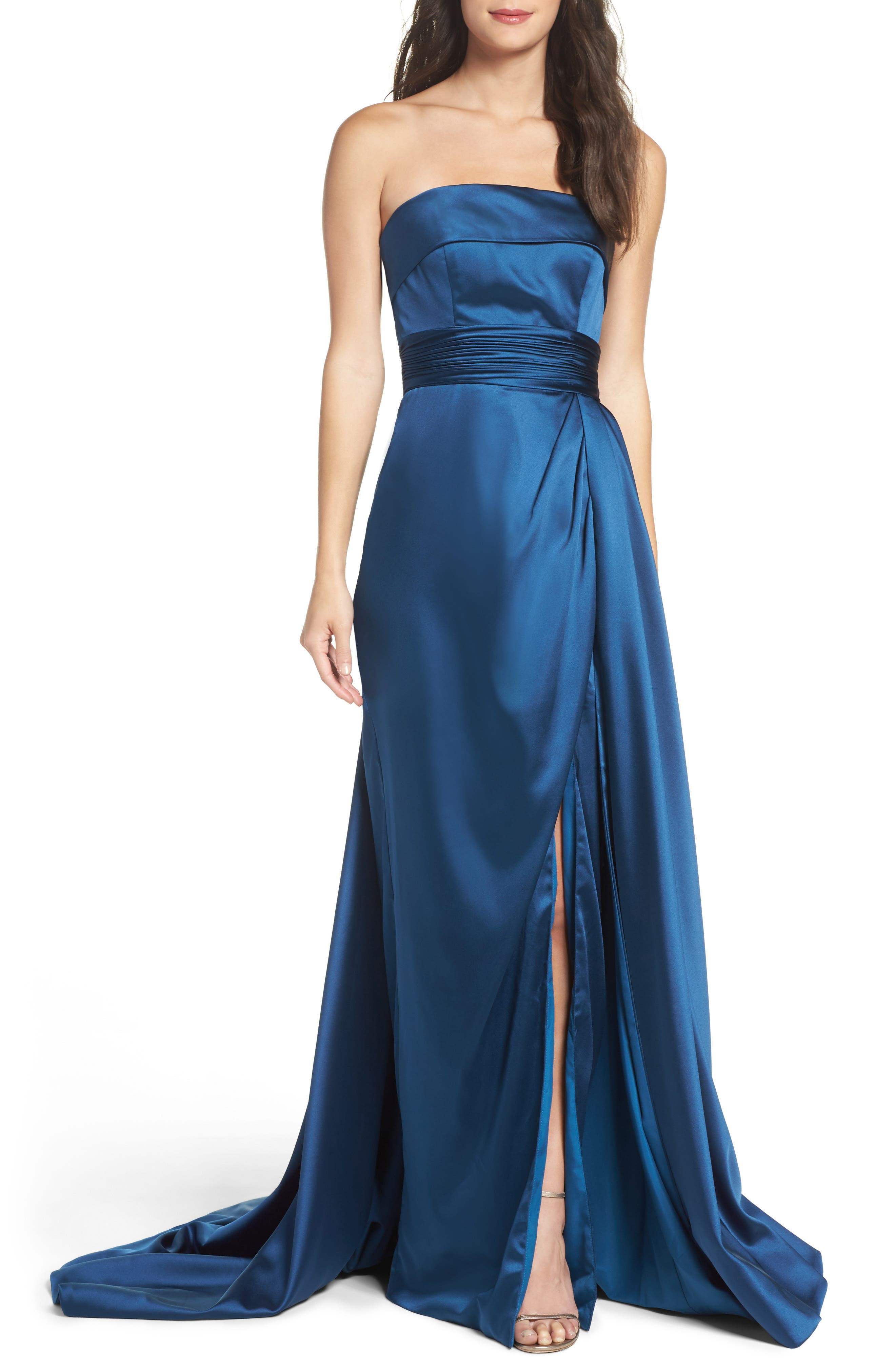 Ruched Strapless Satin Gown,                         Main,                         color, Midnight