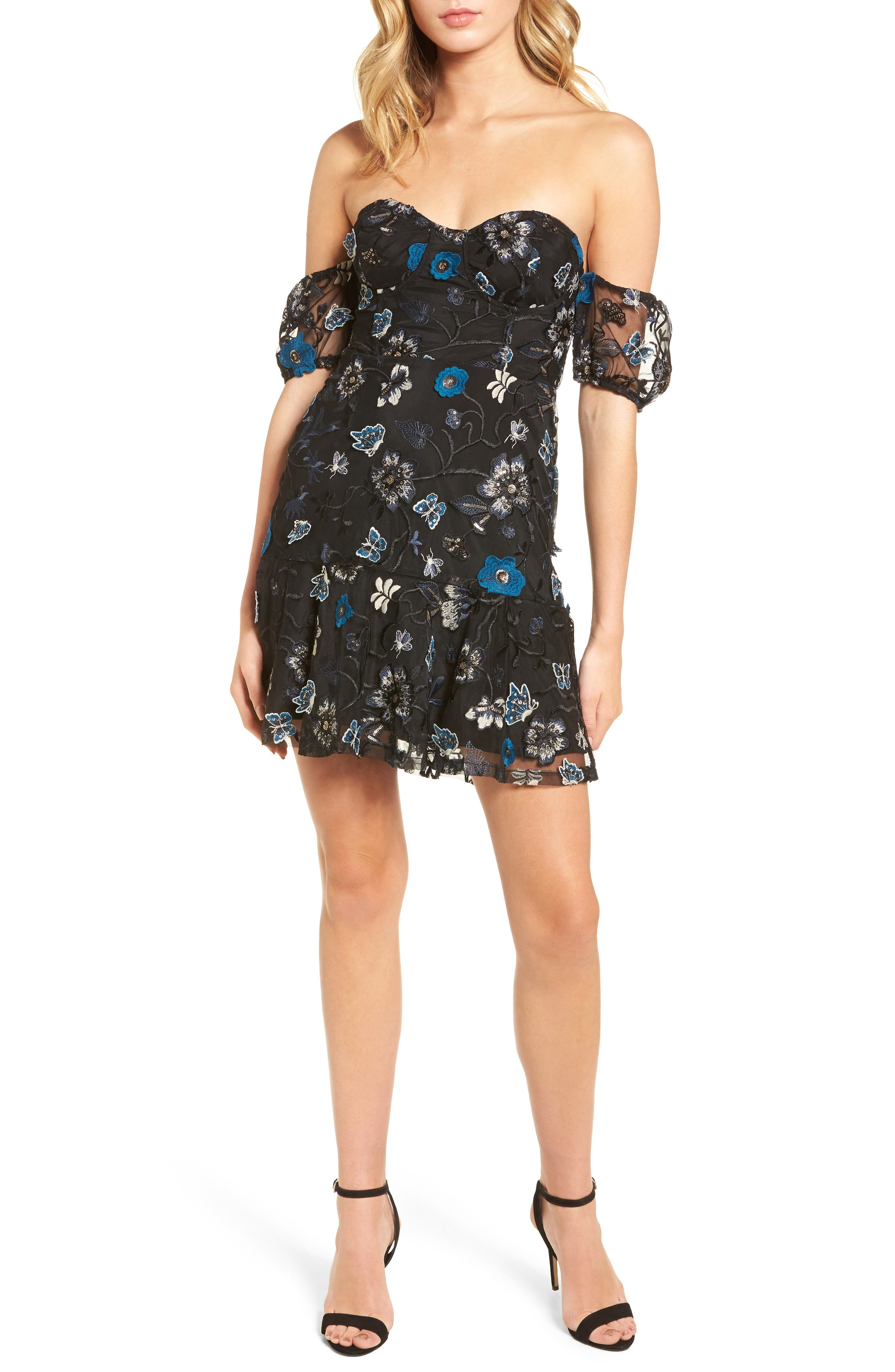 Bontanic Off the Shoulder Dress,                         Main,                         color, Black Floral