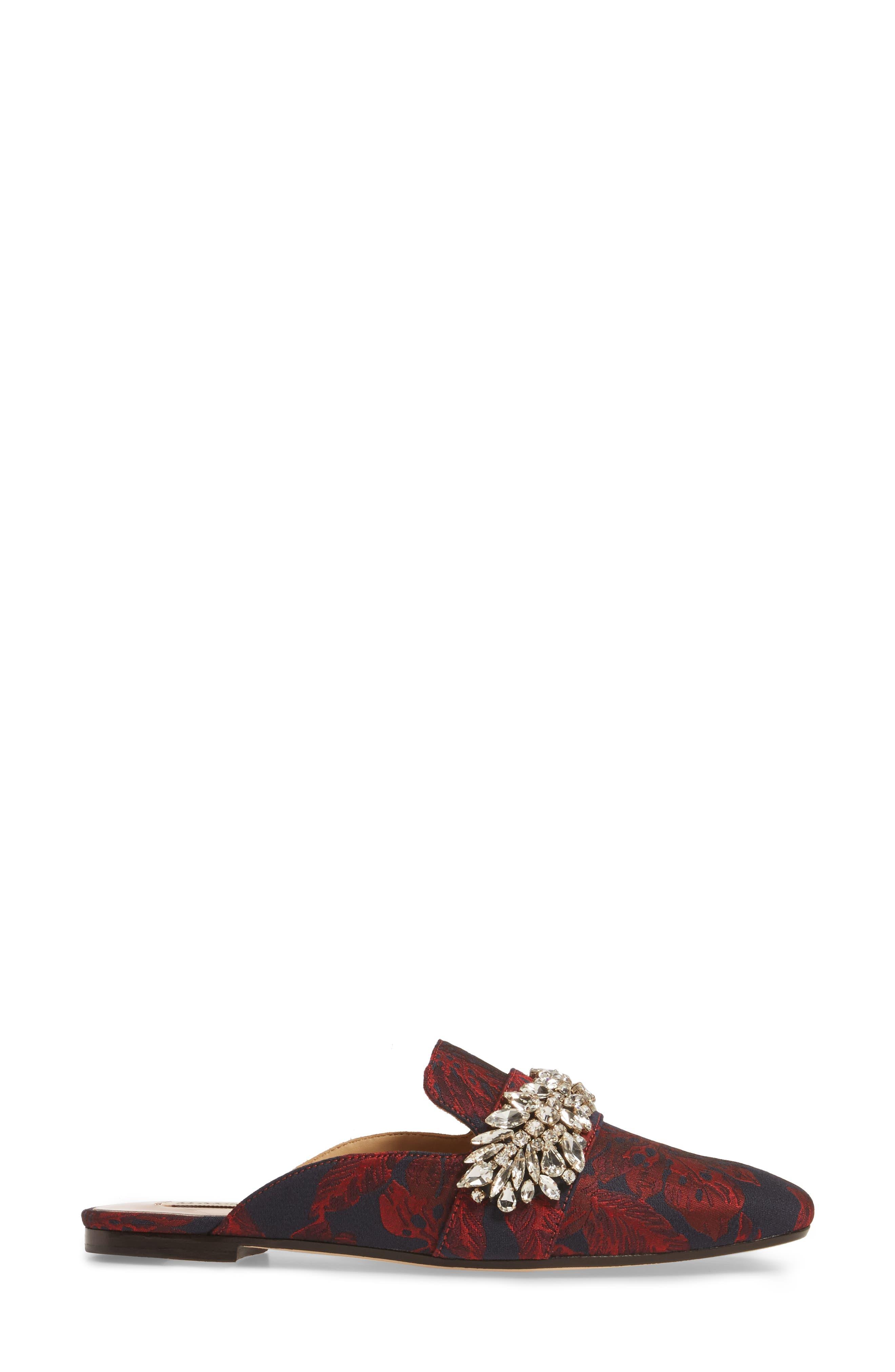 Kana Embellished Loafer Mule,                             Alternate thumbnail 3, color,                             Burgundy Fabric