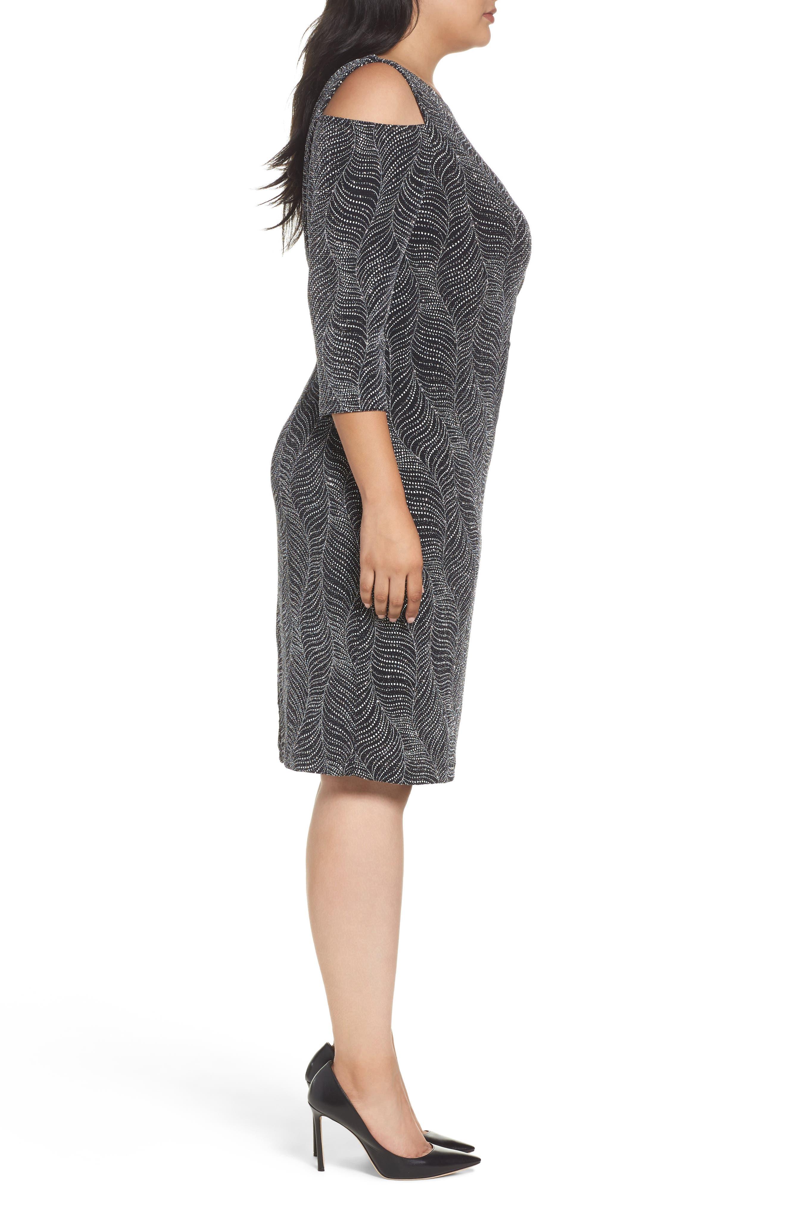 Cold Shoulder Glitter Knit Sheath Dress,                             Alternate thumbnail 3, color,                             Black/ Silver