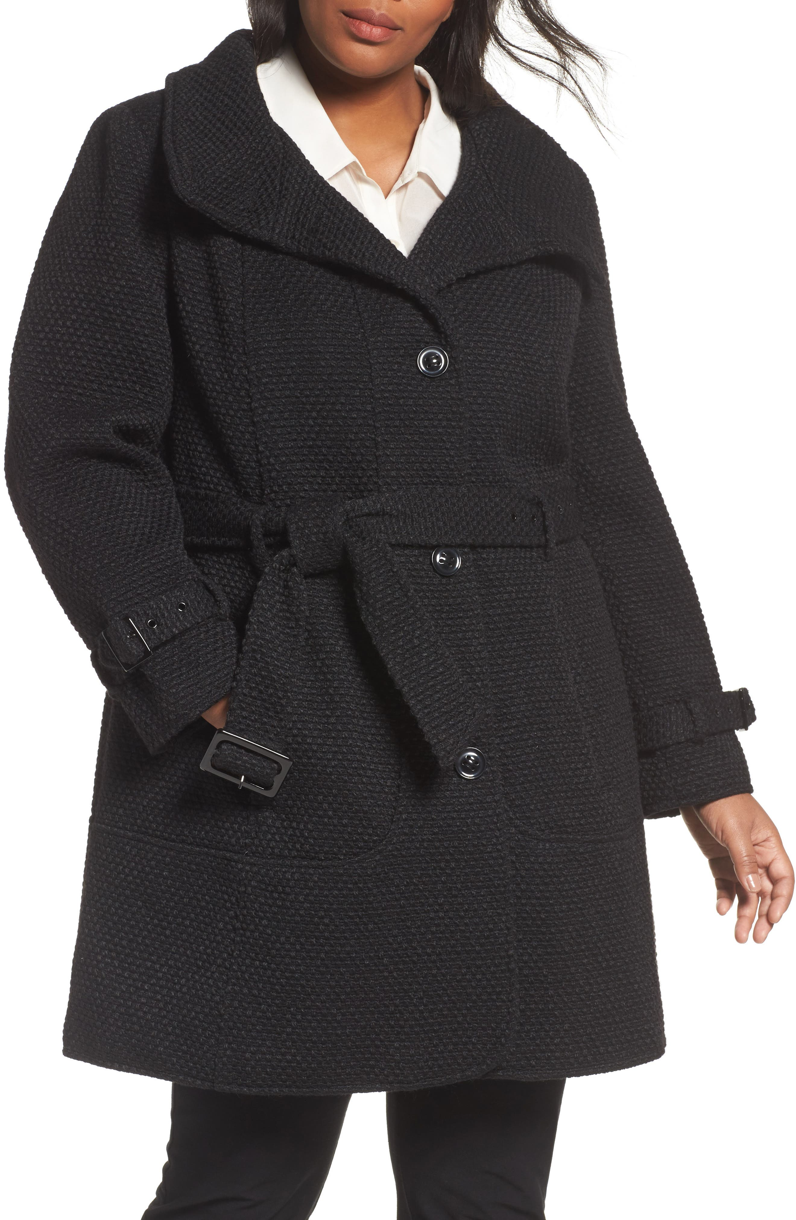 Alternate Image 1 Selected - Gallery Waffle Woven Coat (Plus Size)