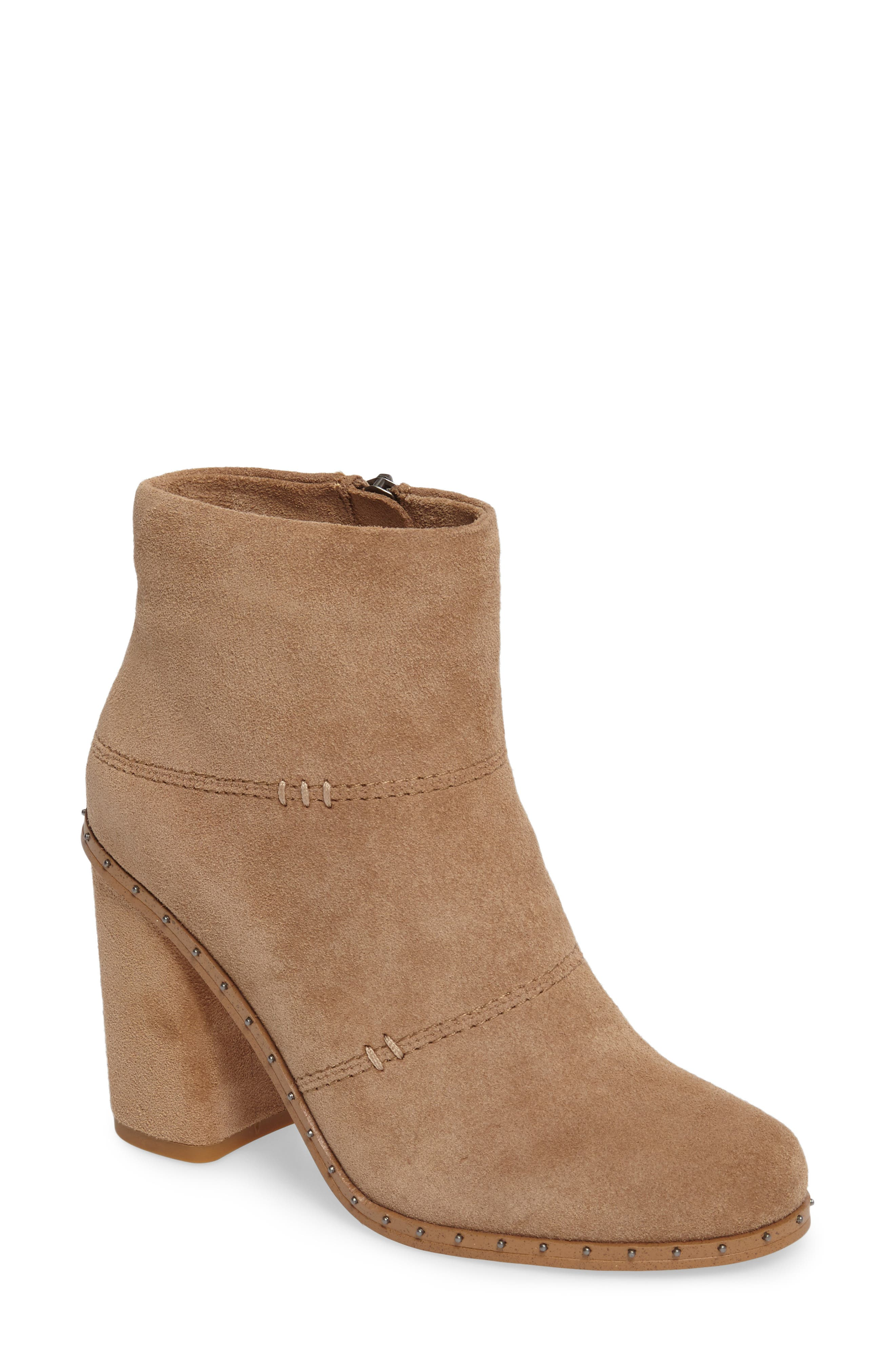 Rita Bootie,                             Main thumbnail 1, color,                             Light Taupe Suede