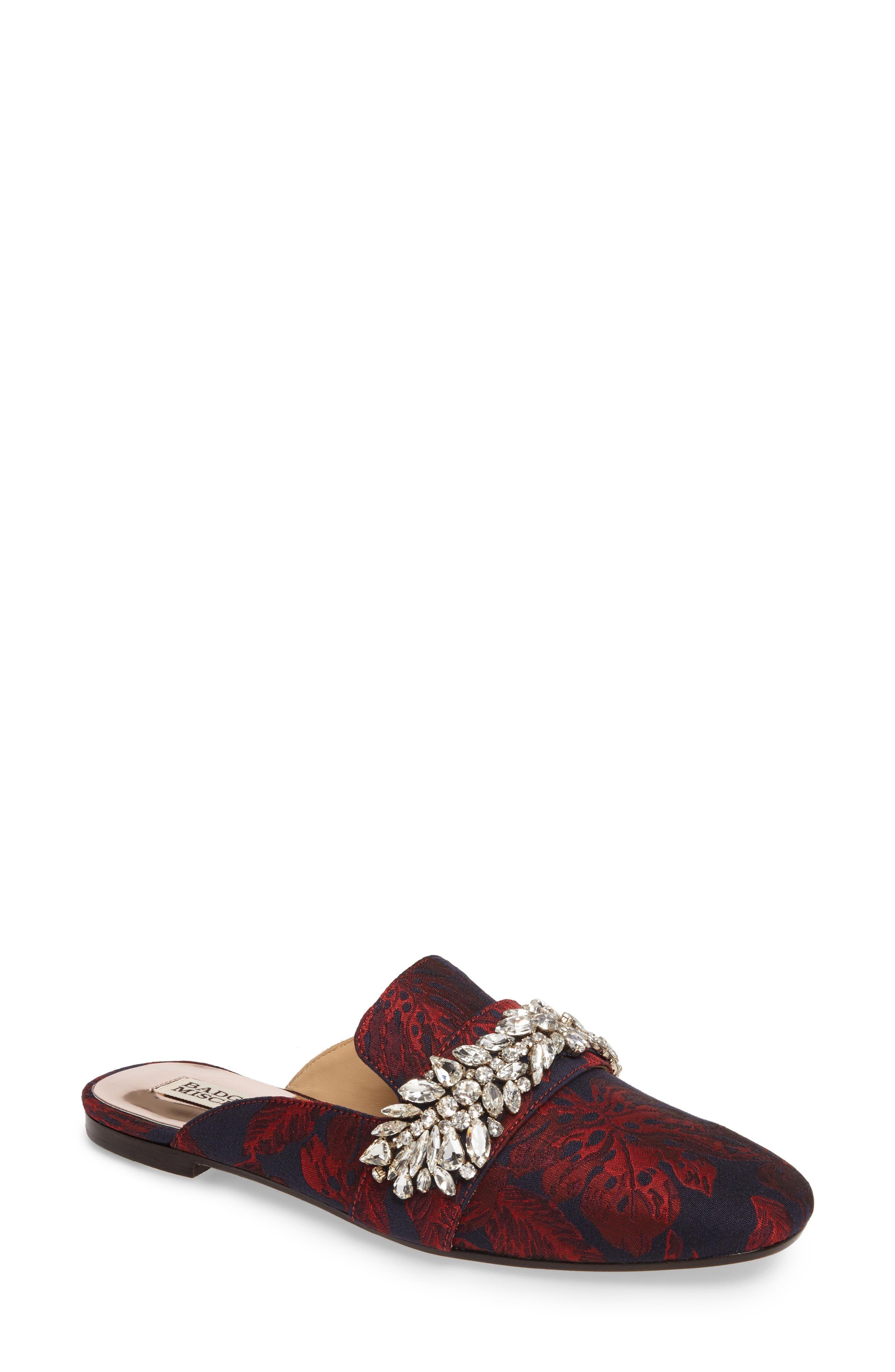 Kana Embellished Loafer Mule,                             Main thumbnail 1, color,                             Burgundy Fabric