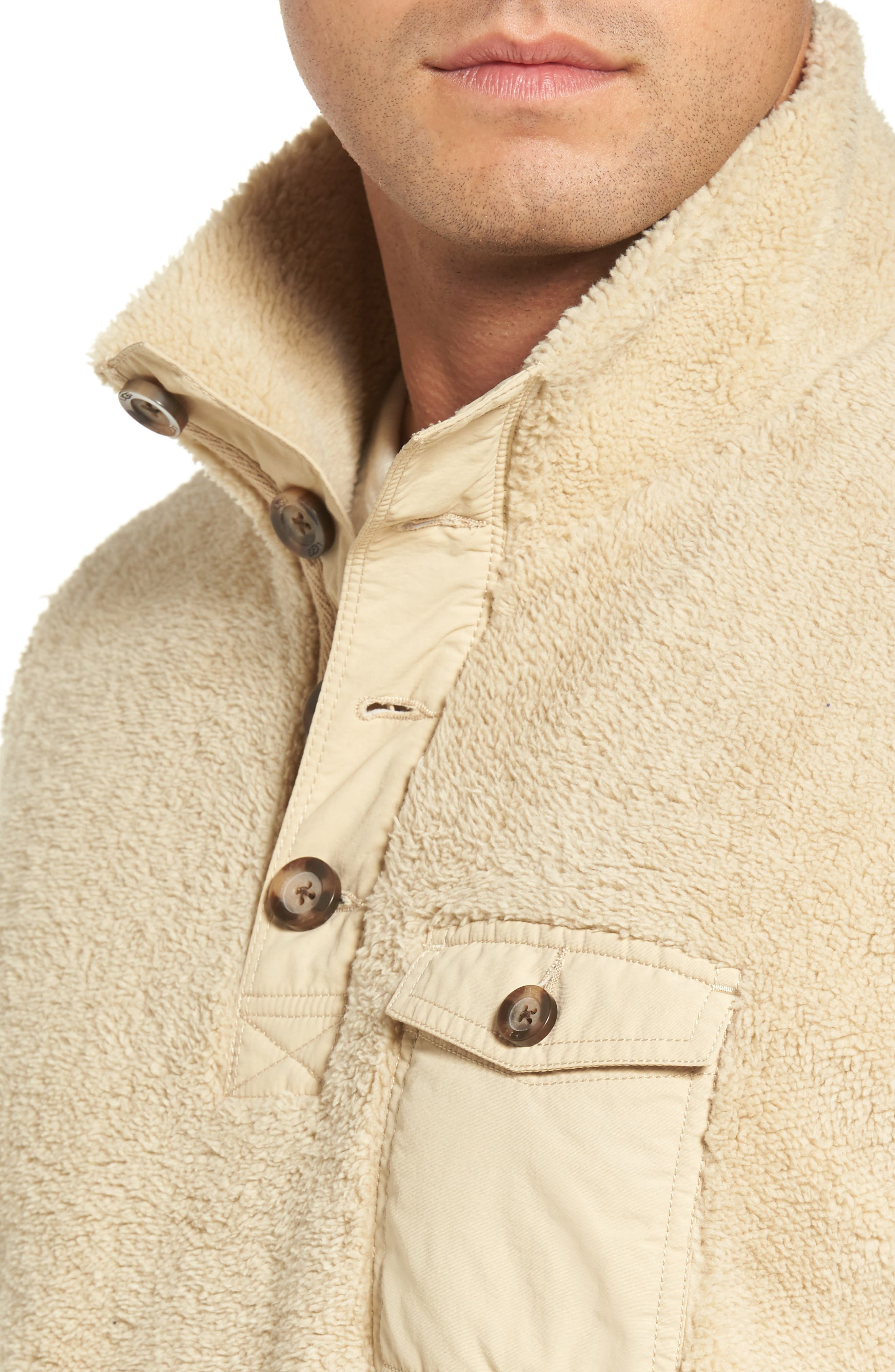Fuzzy Faux Shearling Pullover,                             Alternate thumbnail 4, color,                             Sand