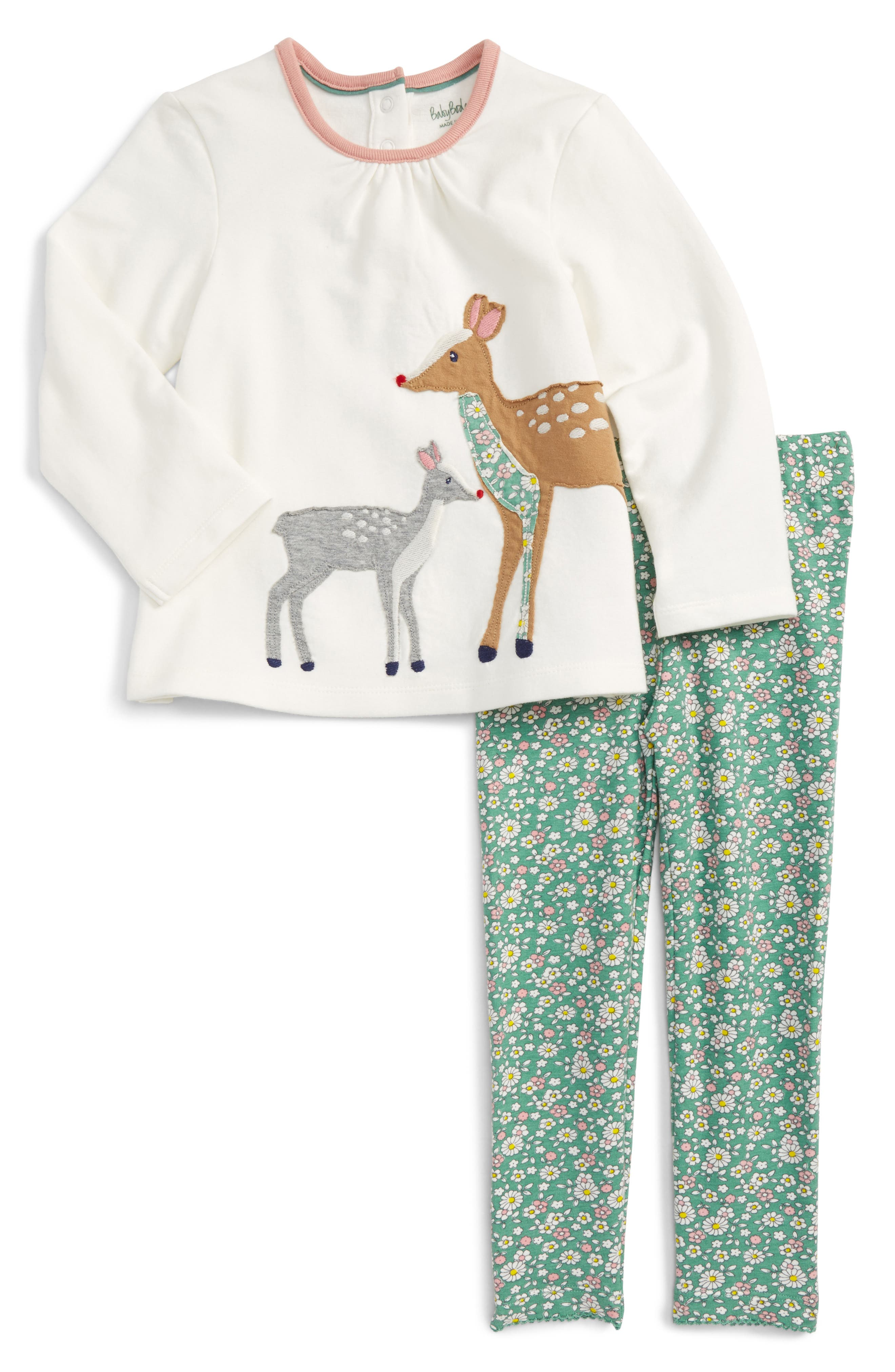 Alternate Image 1 Selected - Mini Boden Animal Friends Tee & Leggings Set (Baby Girls & Toddler Girls)