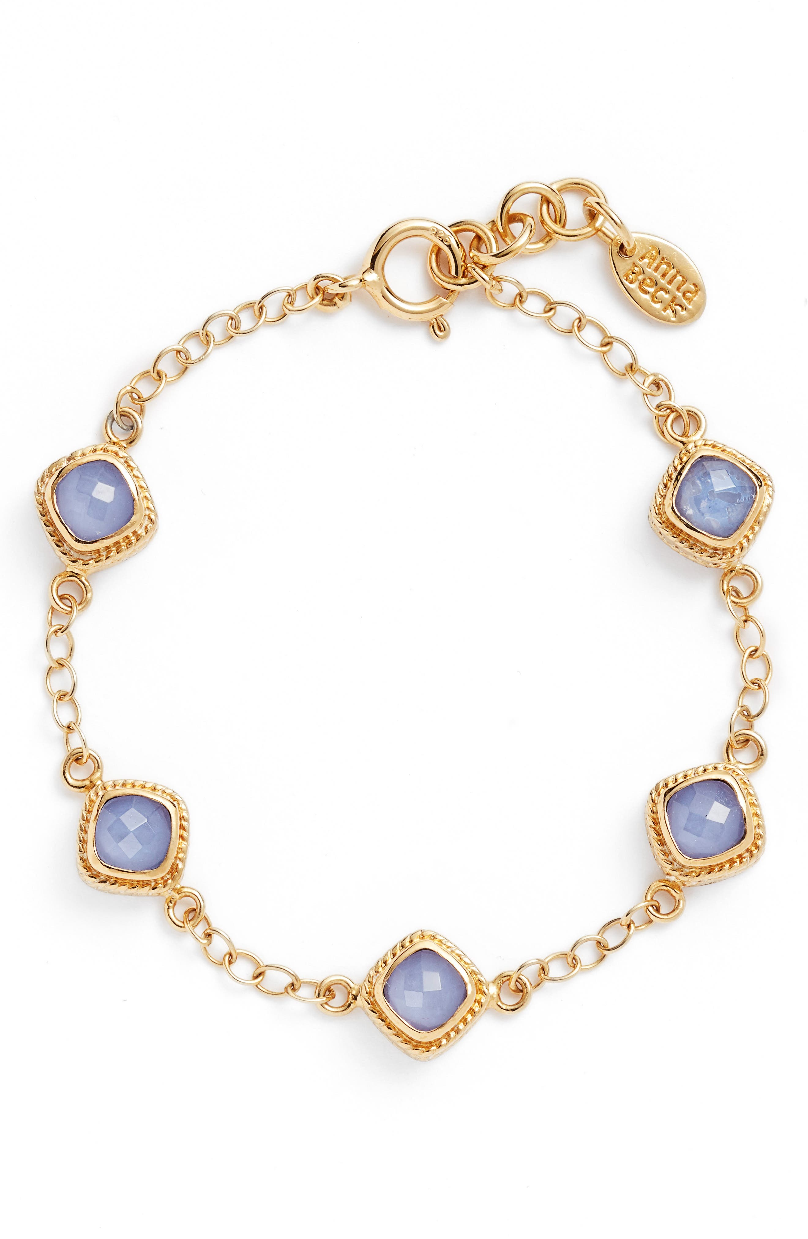 Station Bracelet,                         Main,                         color, Gold/ Blue Chalcedony