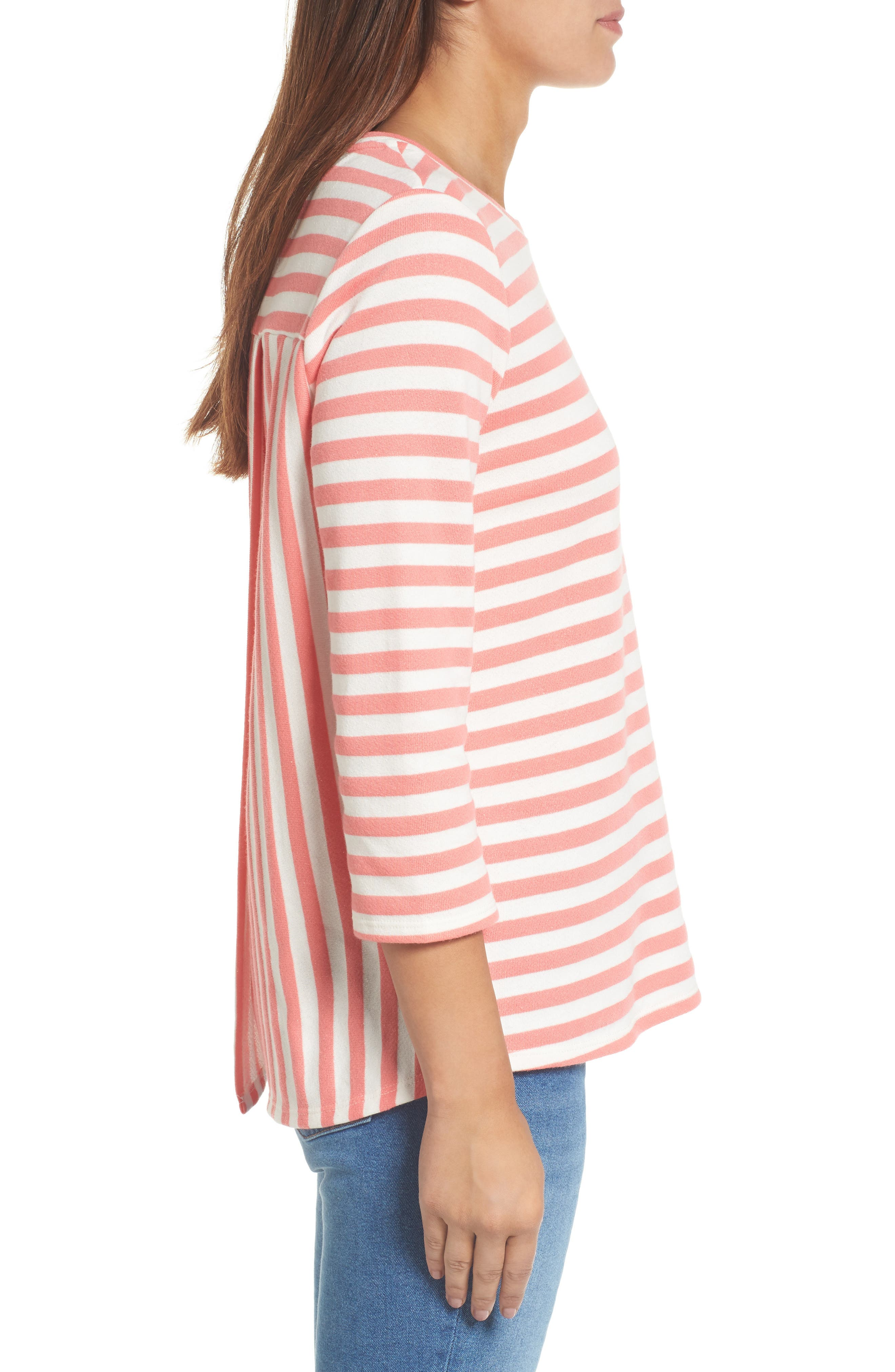 Halogen High/Low Cross Back Sweatshirt,                             Alternate thumbnail 3, color,                             Coral Sugar- White Stripe