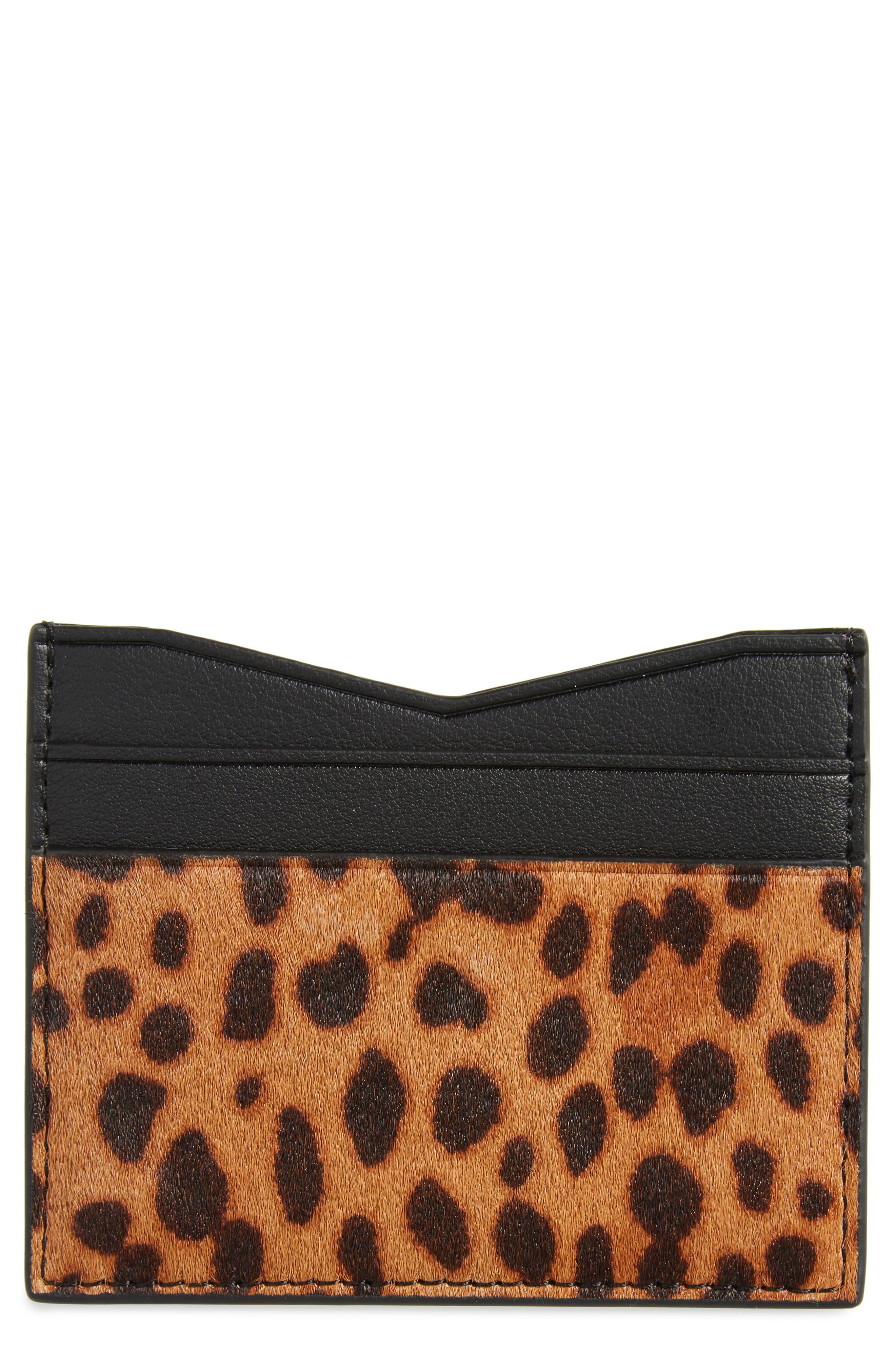 Emma Genuine Calf Hair Card Case,                         Main,                         color, Leopard