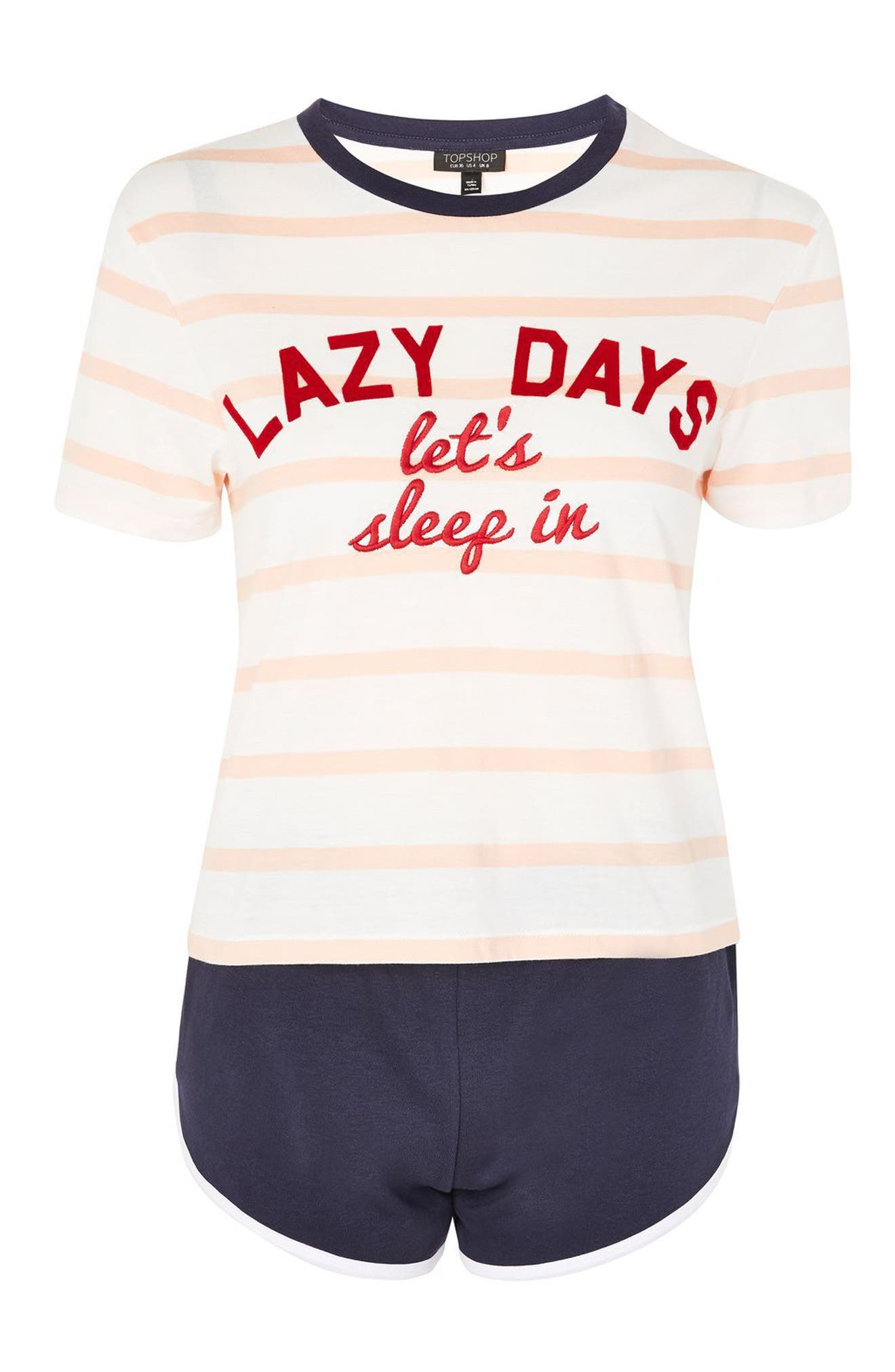 Lazy Days Pajamas,                             Alternate thumbnail 3, color,                             White Multi