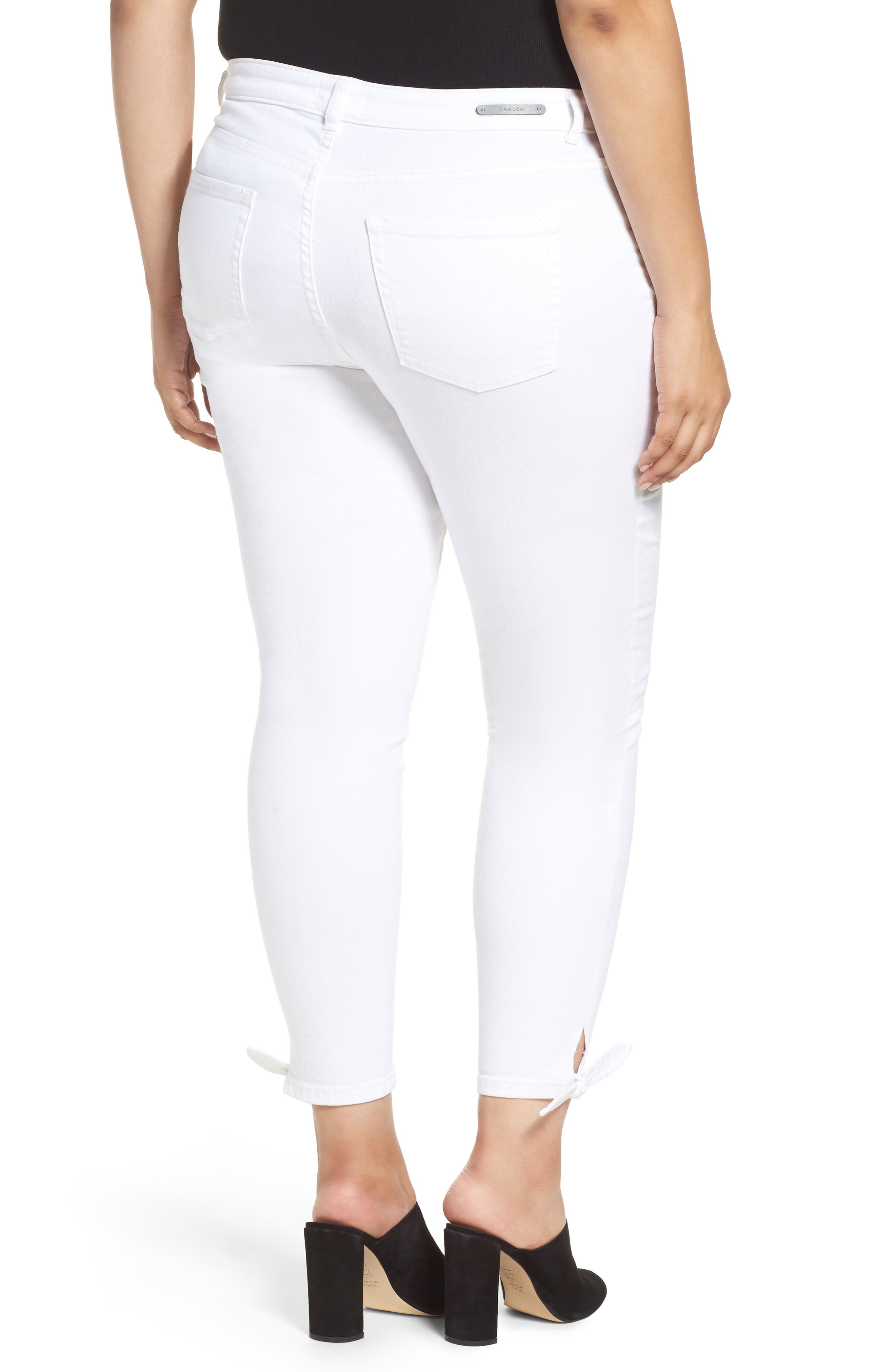 Tie Ankle Skinny Jeans,                             Alternate thumbnail 3, color,                             White