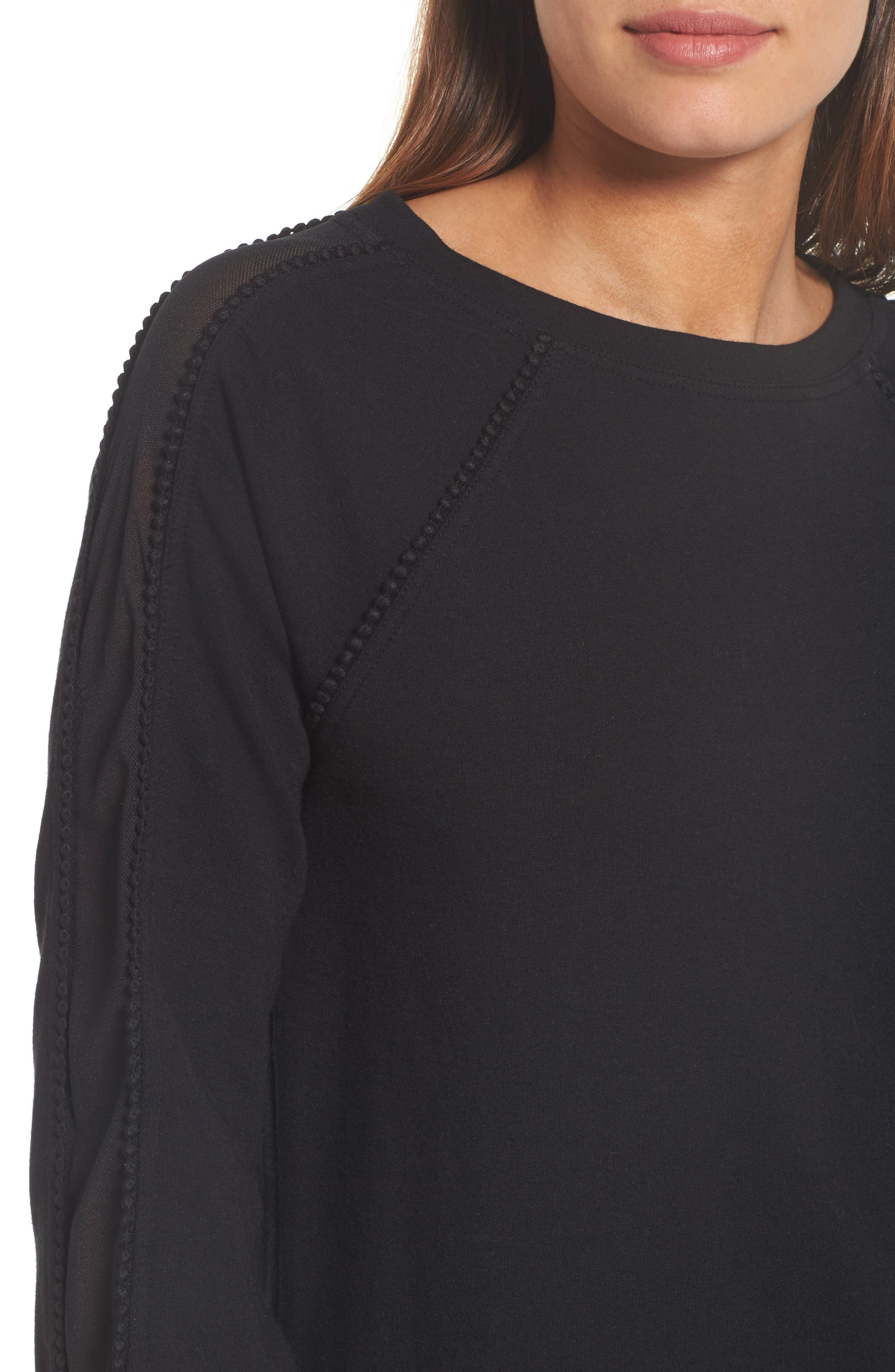 Mesh Inset Sleeve Sweatshirt,                             Alternate thumbnail 4, color,                             Black