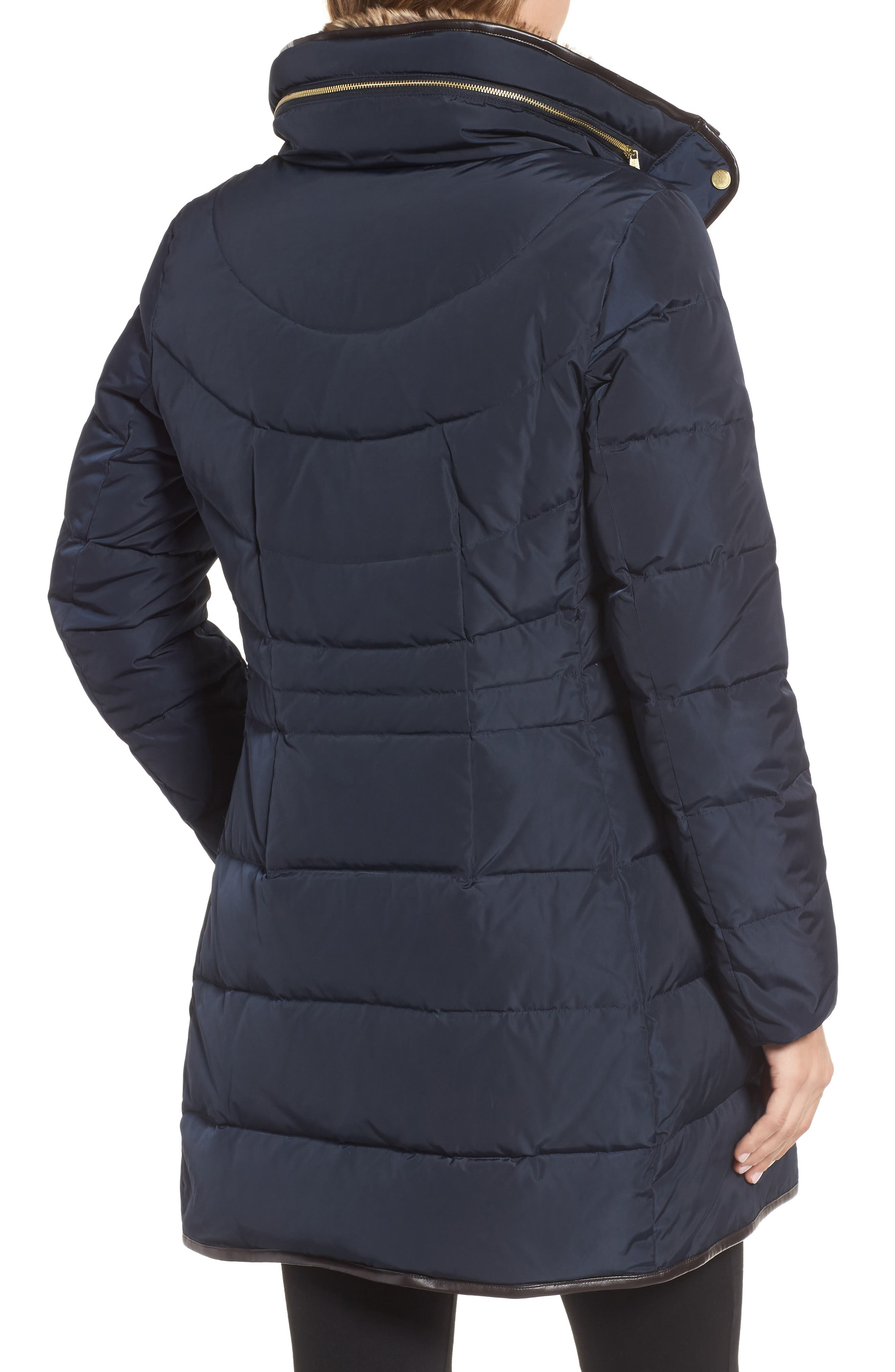 Alternate Image 2  - Cole Haan Quilted Down & Feather Fill Jacket with Faux Fur Trim