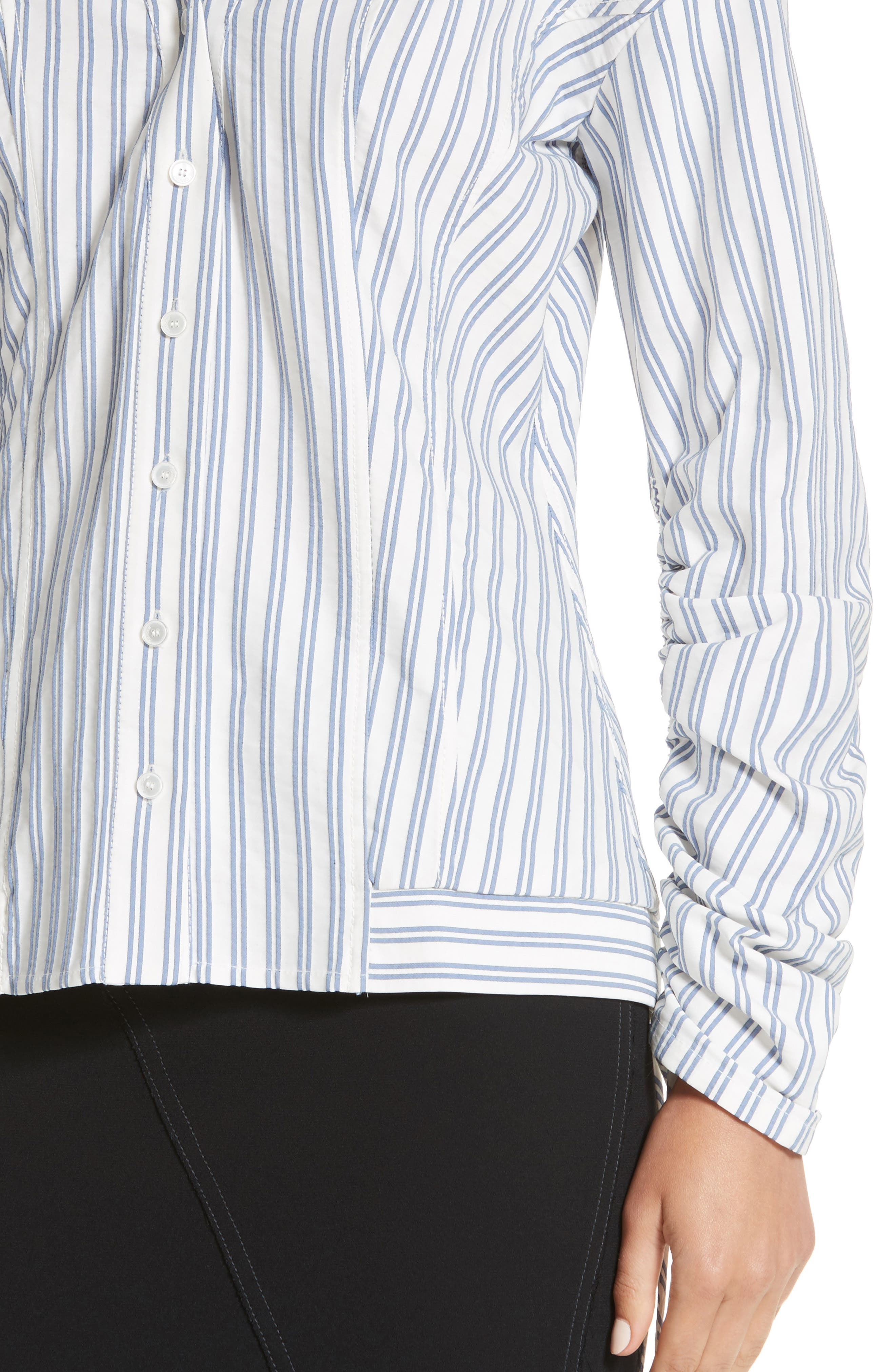 Stripe Cotton Blouse,                             Alternate thumbnail 3, color,                             Blue / Chalk