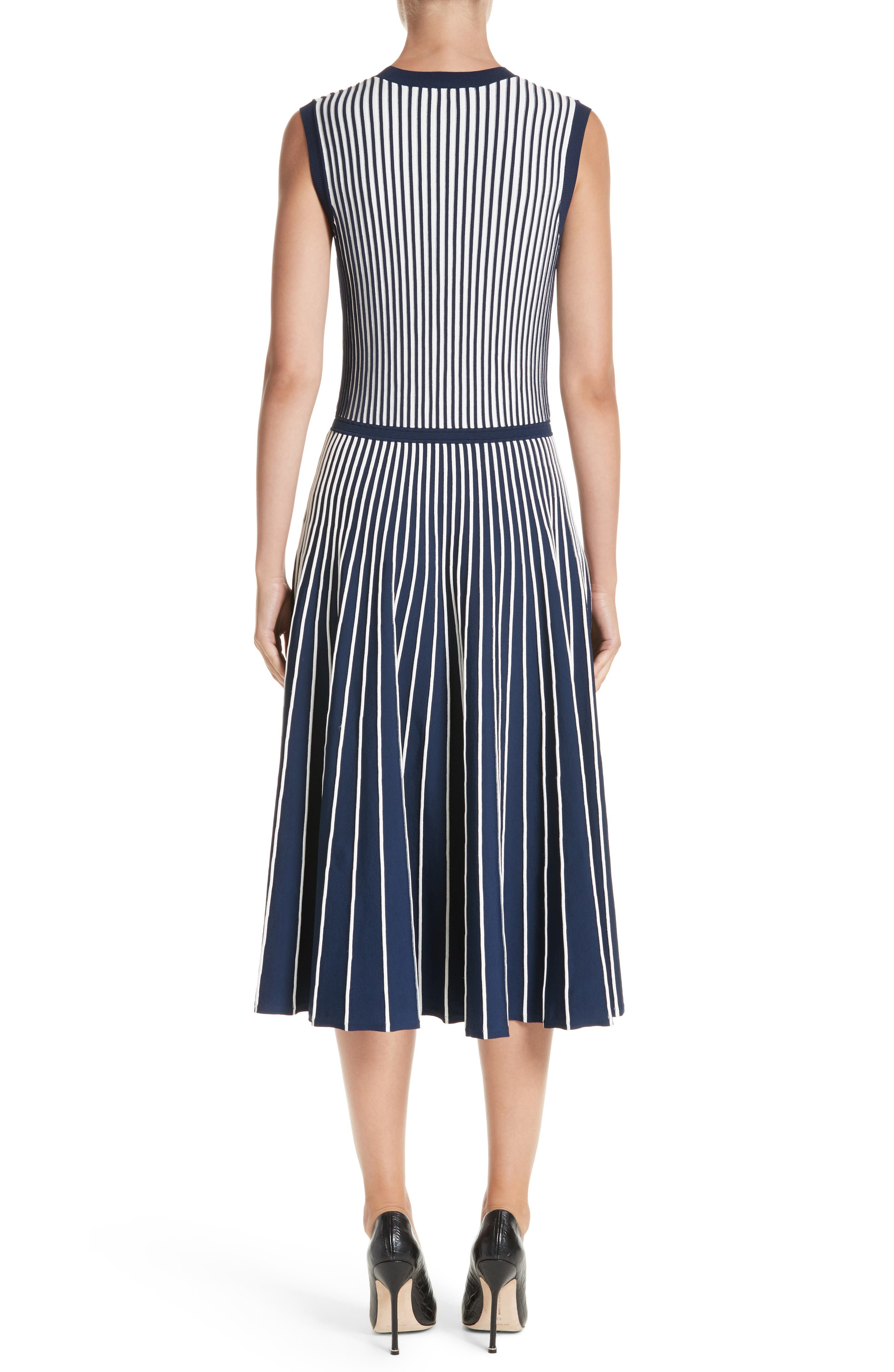 Stripe Knit Day Dress,                             Alternate thumbnail 2, color,                             Navy / Chalk