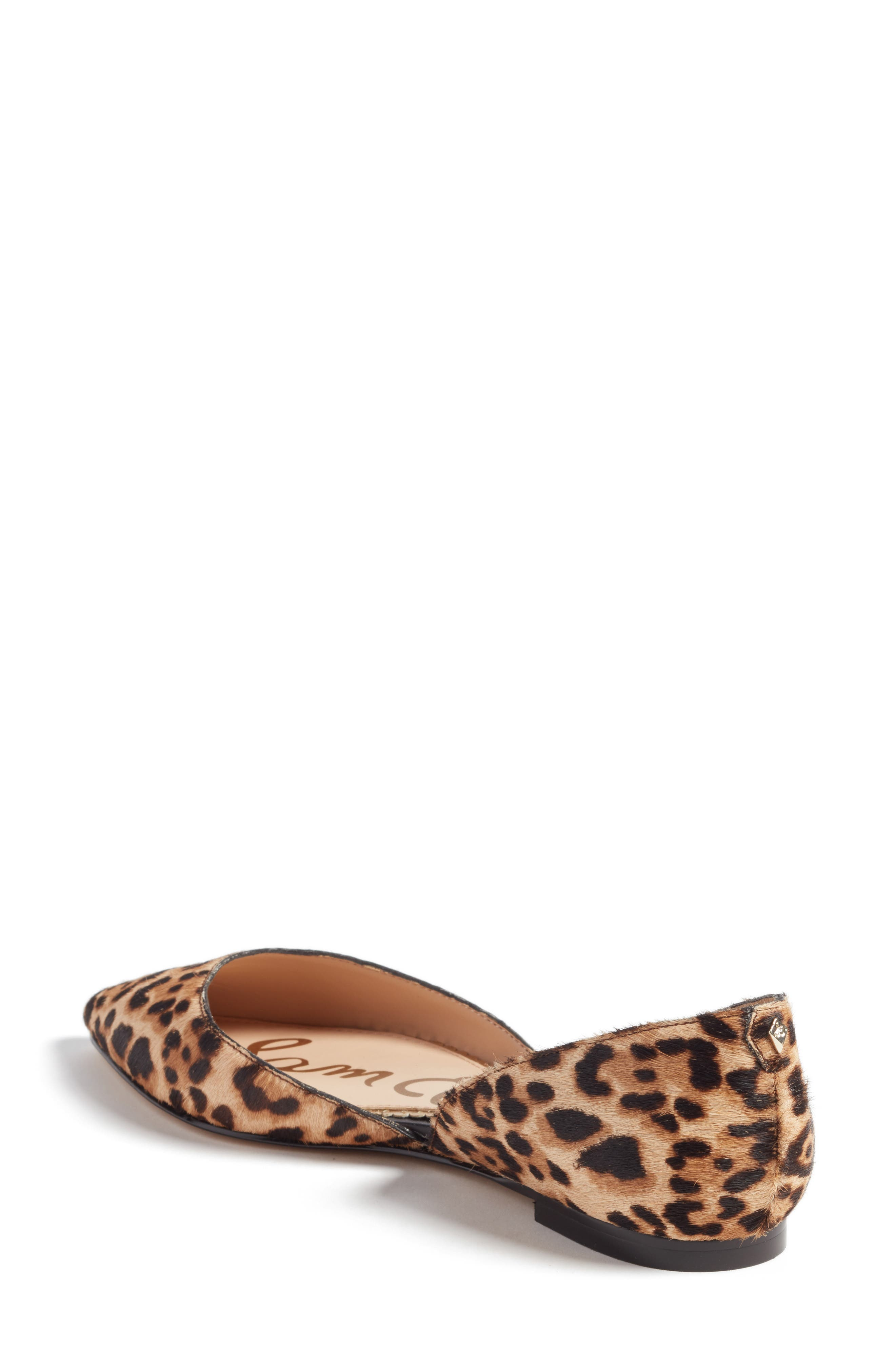 Rodney Pointy Toe Genuine Calf Hair Flat,                             Alternate thumbnail 2, color,                             Sand Leopard Calf Hair