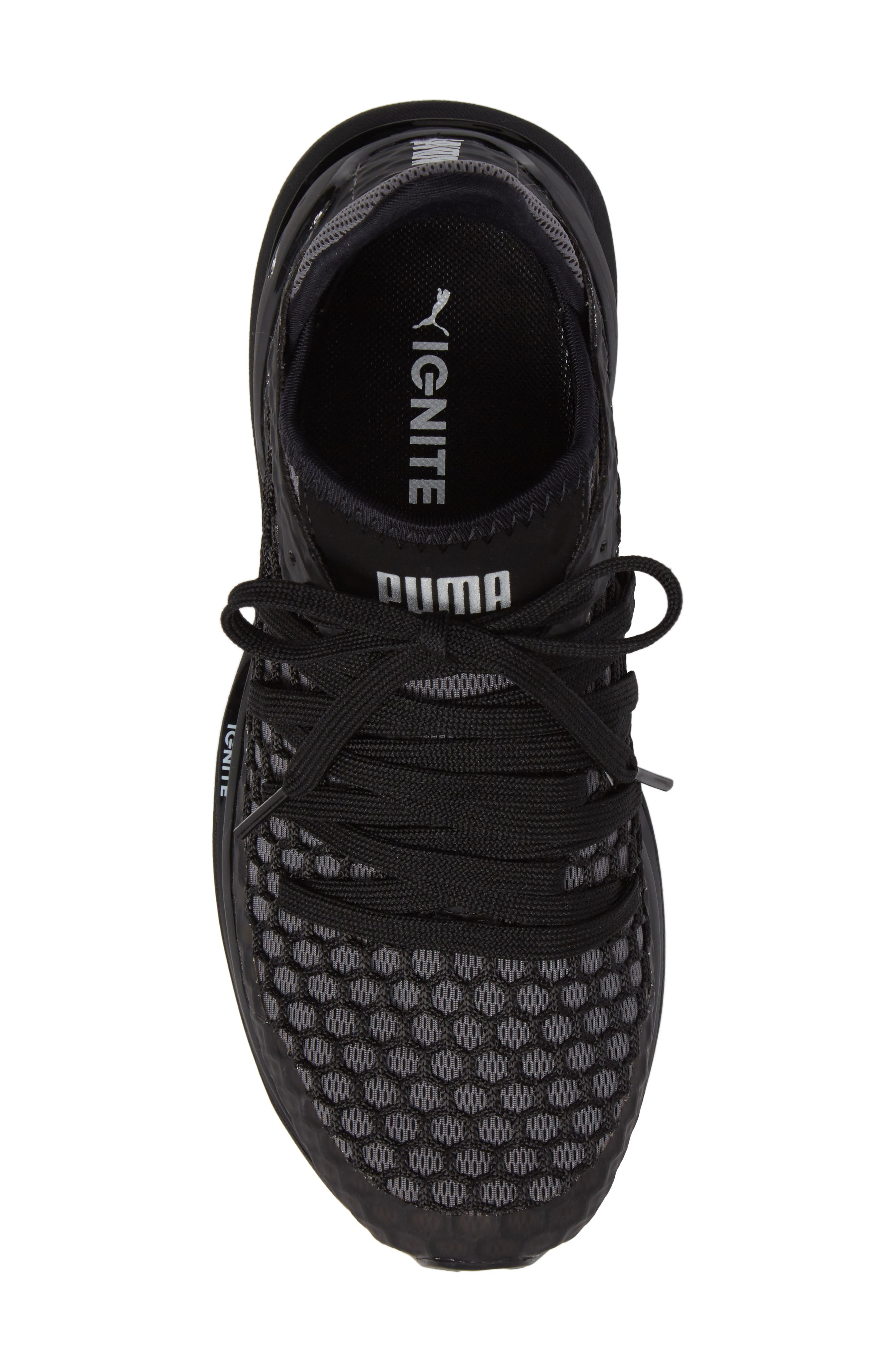 Ignite Limitless Netfit Running Shoe,                             Alternate thumbnail 6, color,                             Black/ Silver