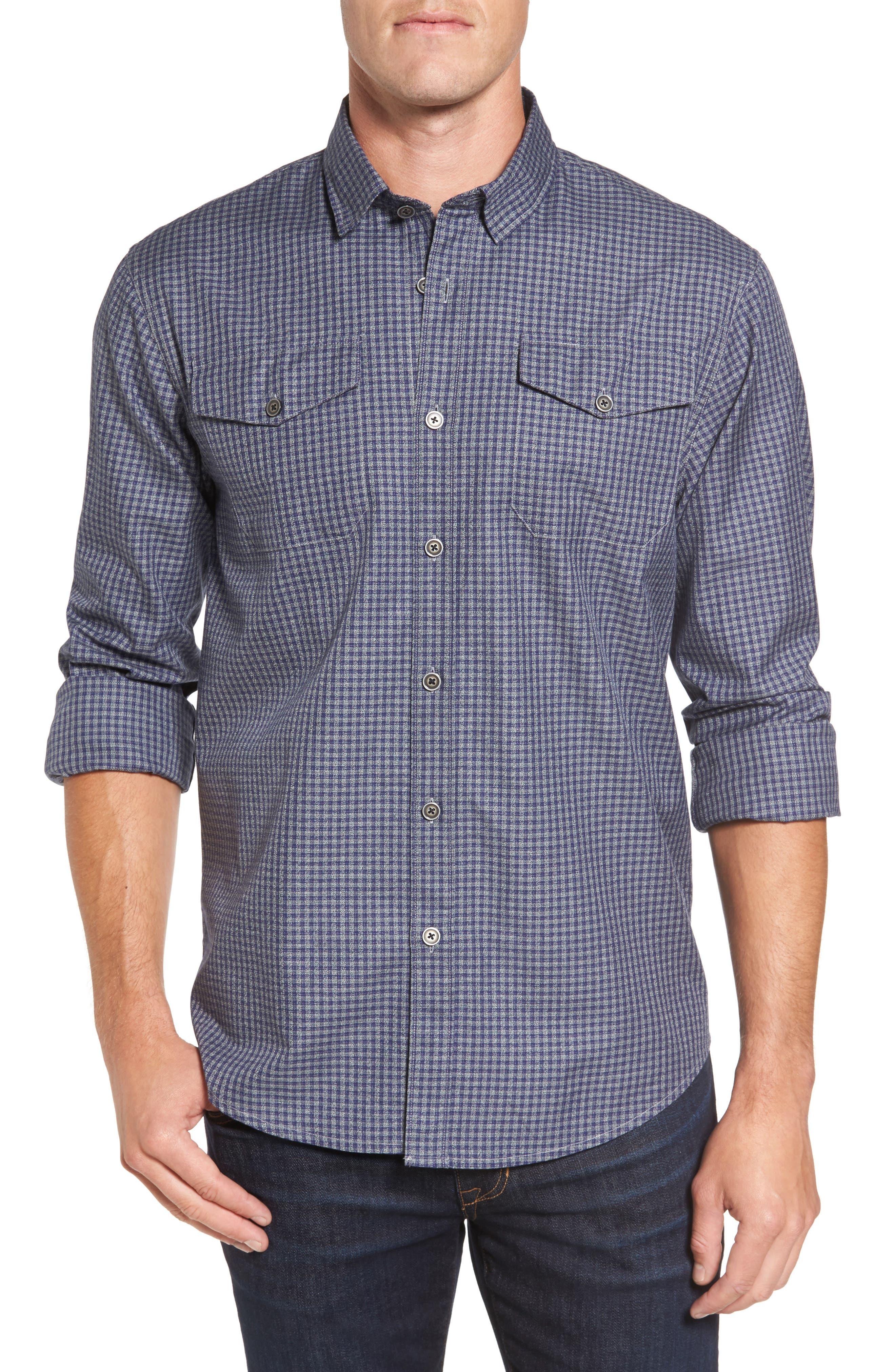 Main Street Check Flannel Shirt,                         Main,                         color, Denim