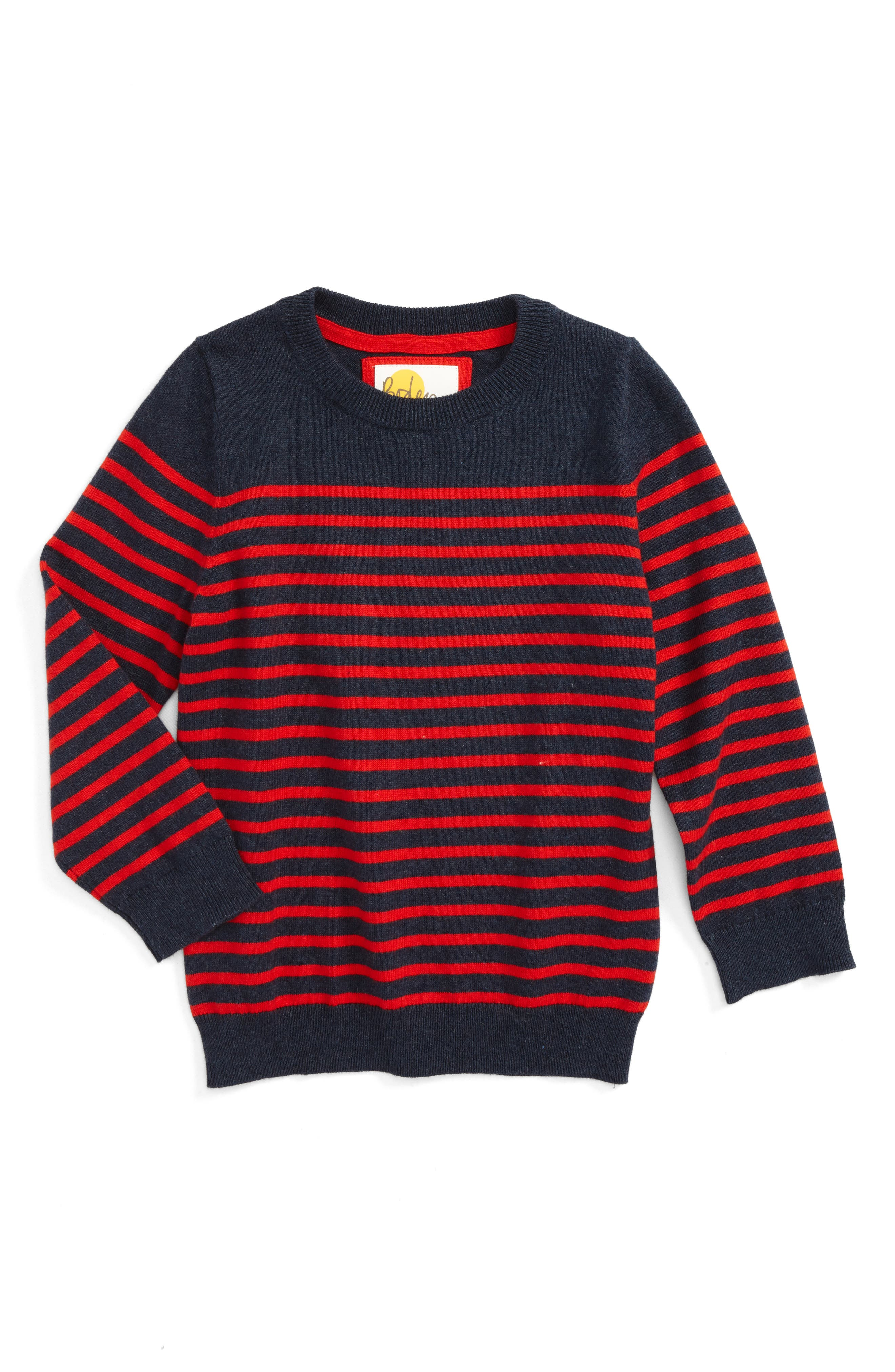 Main Image - Mini Boden Stripe Sweater (Toddler Boys, Little Boys & Big Boys)