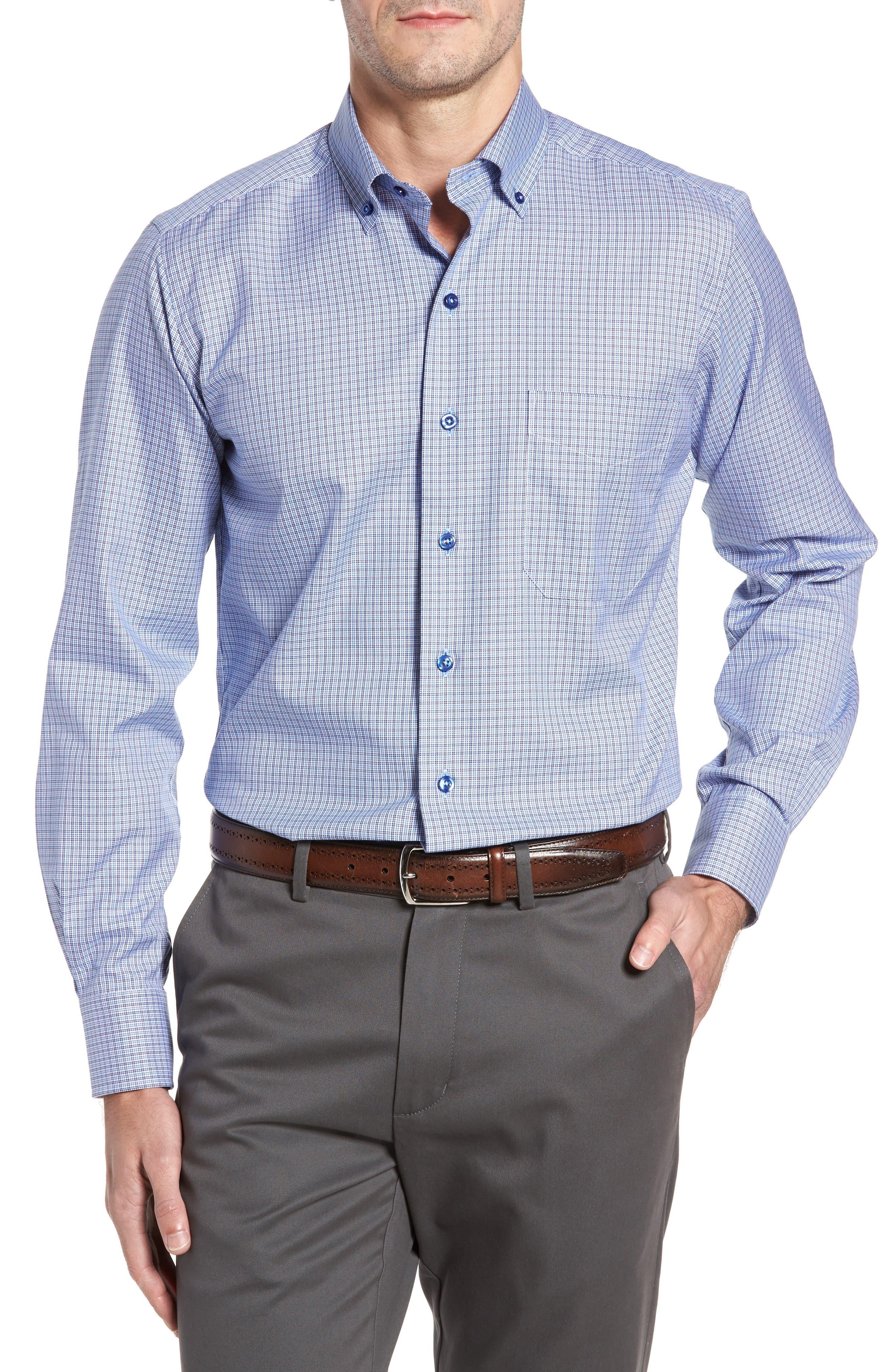 Alternate Image 1 Selected - David Donahue Regular Fit Plaid Sport Shirt