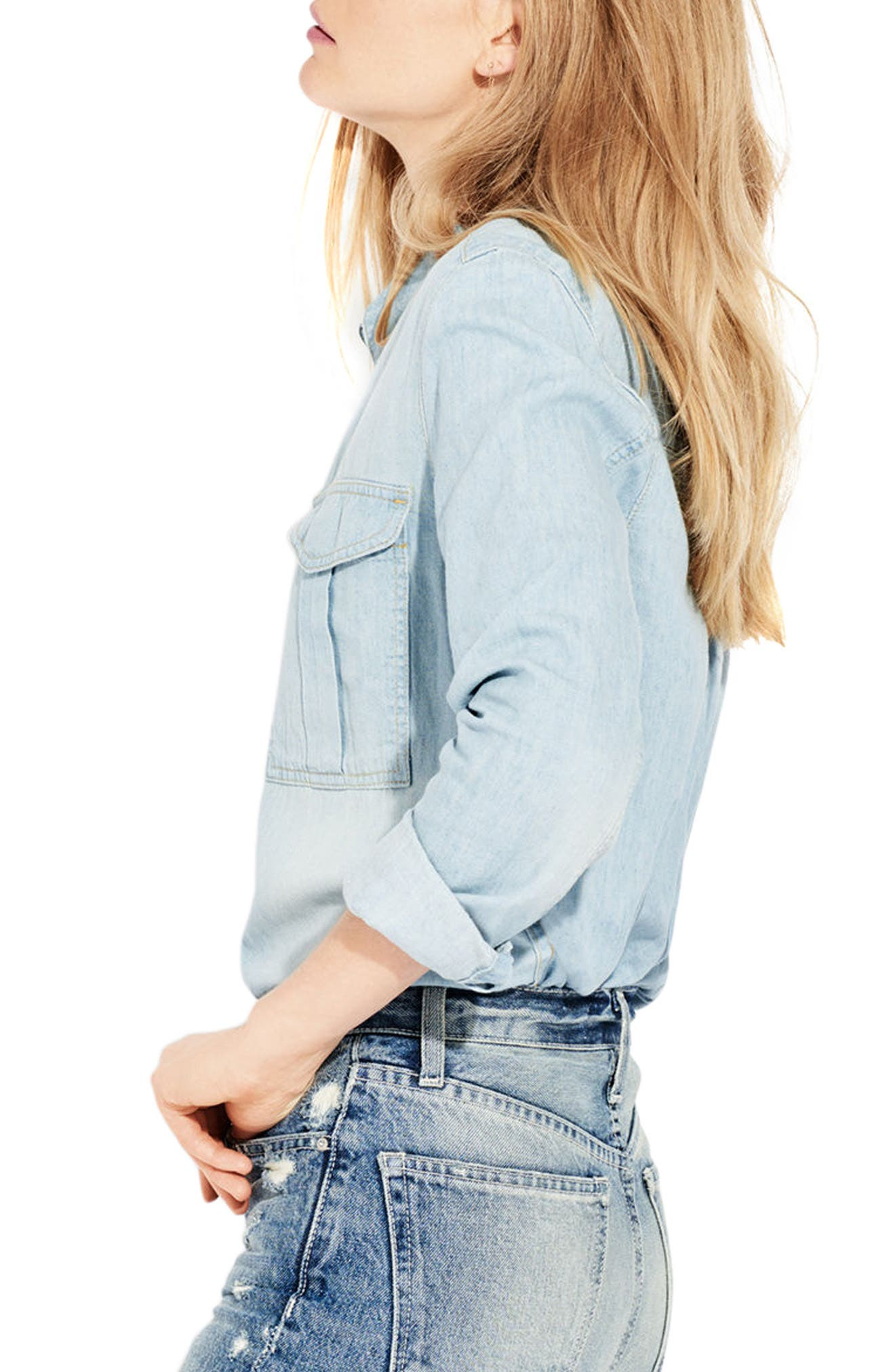 The Wish Chambray Shirt,                             Alternate thumbnail 3, color,                             Cotton Puff