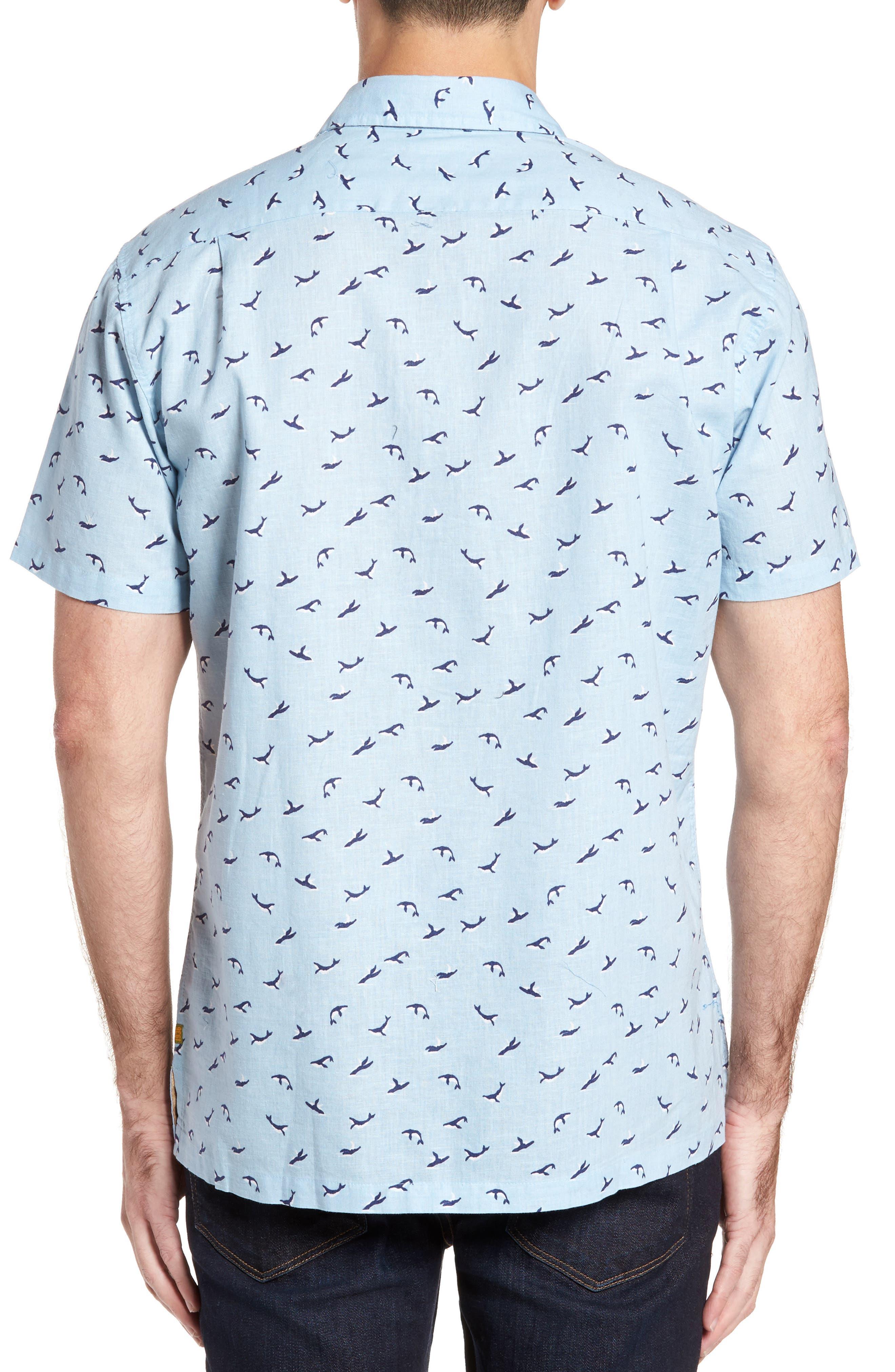 Winter Holiday Trim Fit Print Linen & Cotton Sport Shirt,                             Alternate thumbnail 2, color,                             Shore