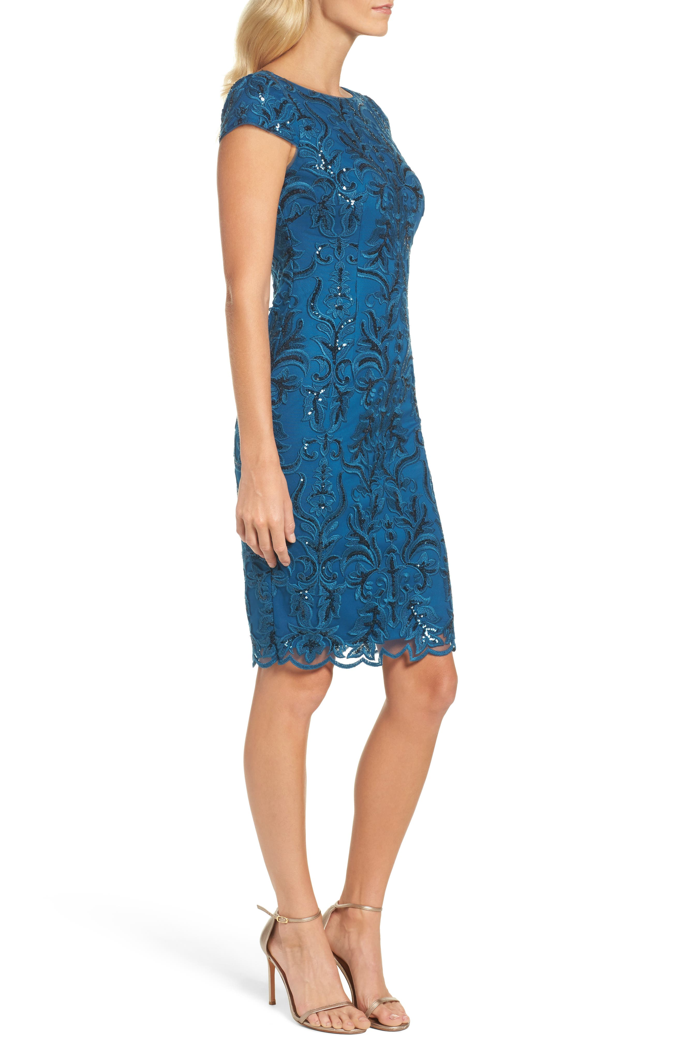 Sequin Embroidered Sheath Dress,                             Alternate thumbnail 3, color,                             Evening Sky