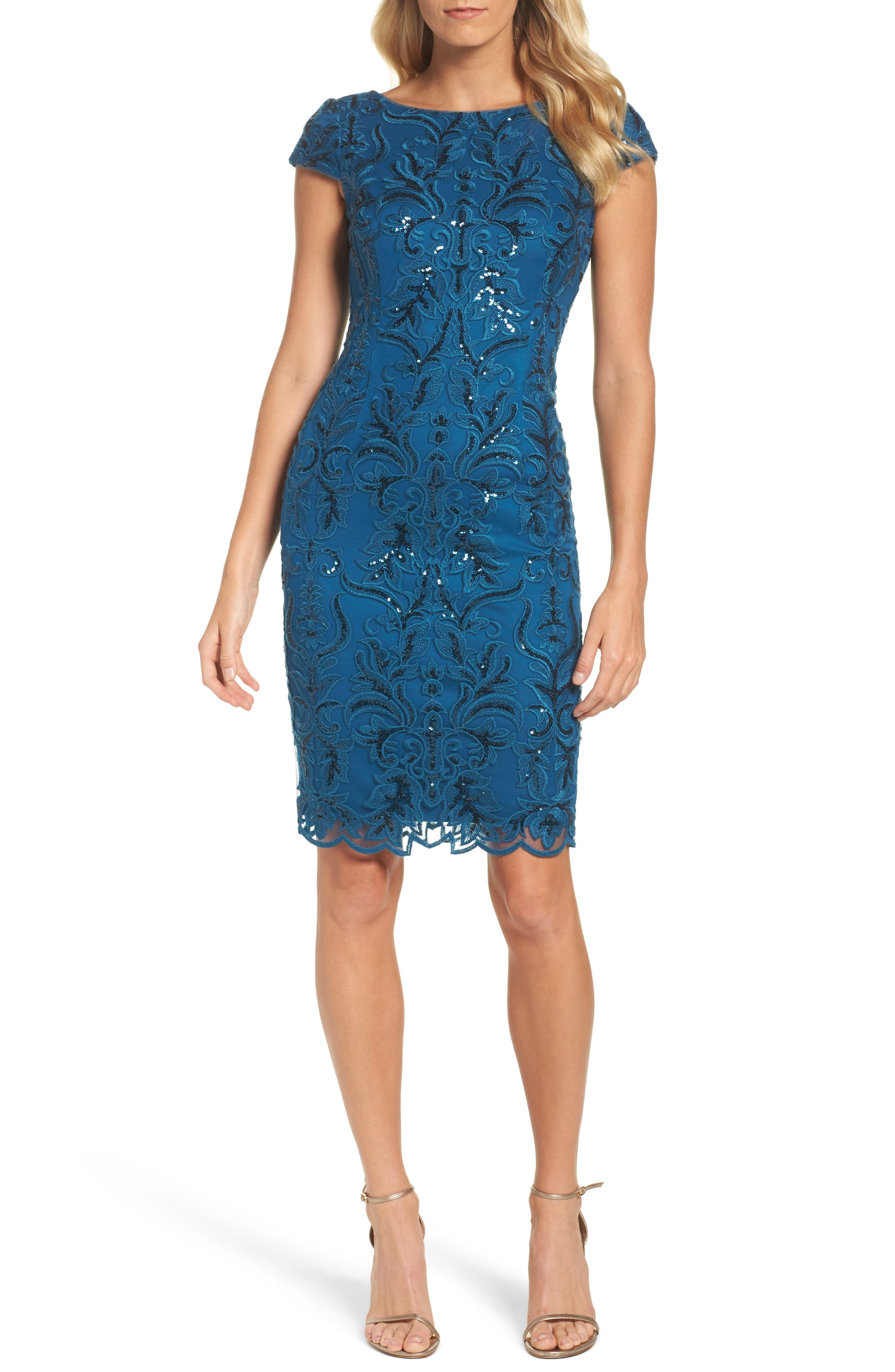 Sequin Embroidered Sheath Dress,                             Main thumbnail 1, color,                             Evening Sky