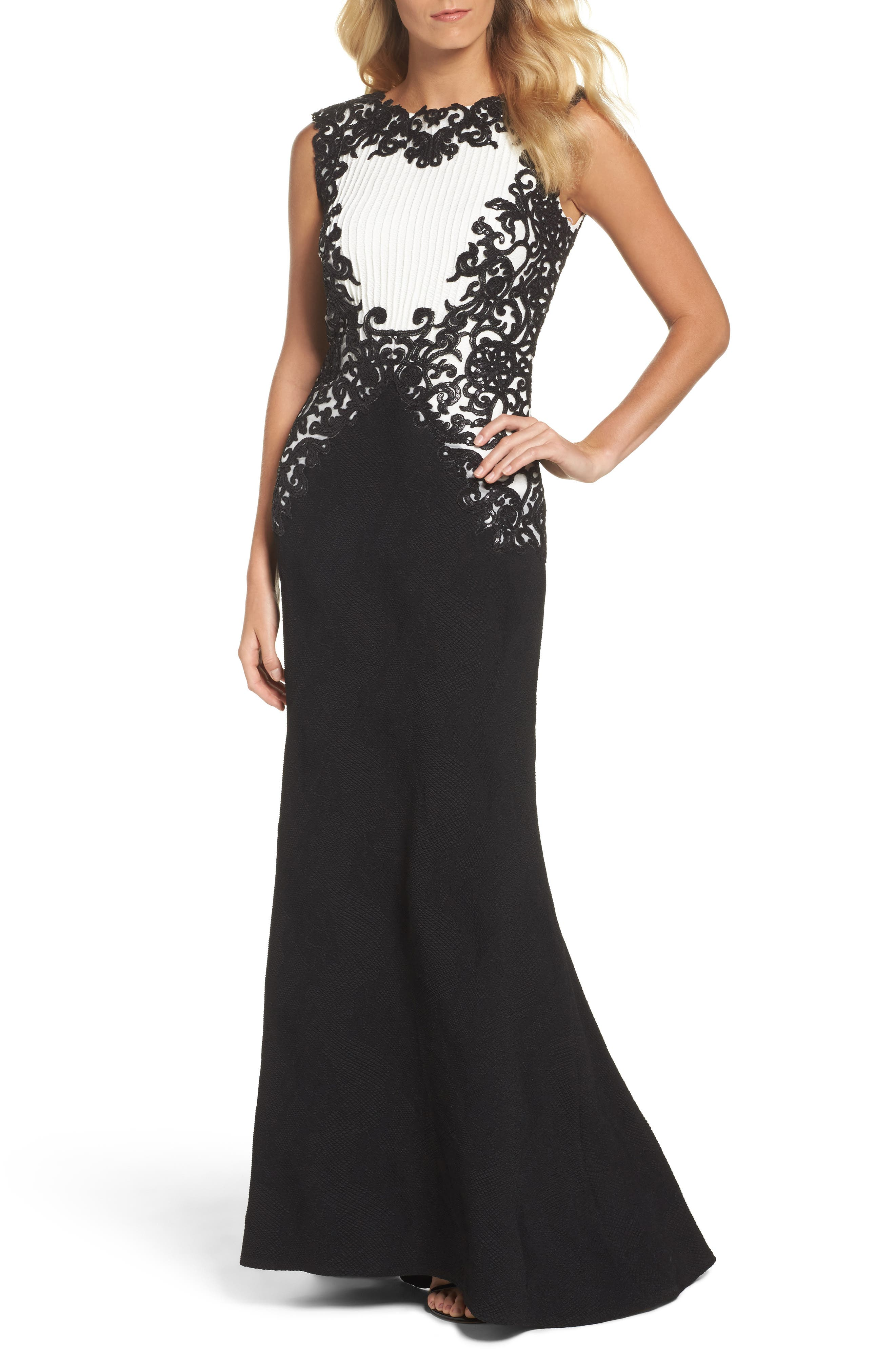 Sequin Embroidered Textured Crepe Gown,                         Main,                         color, Black/ White