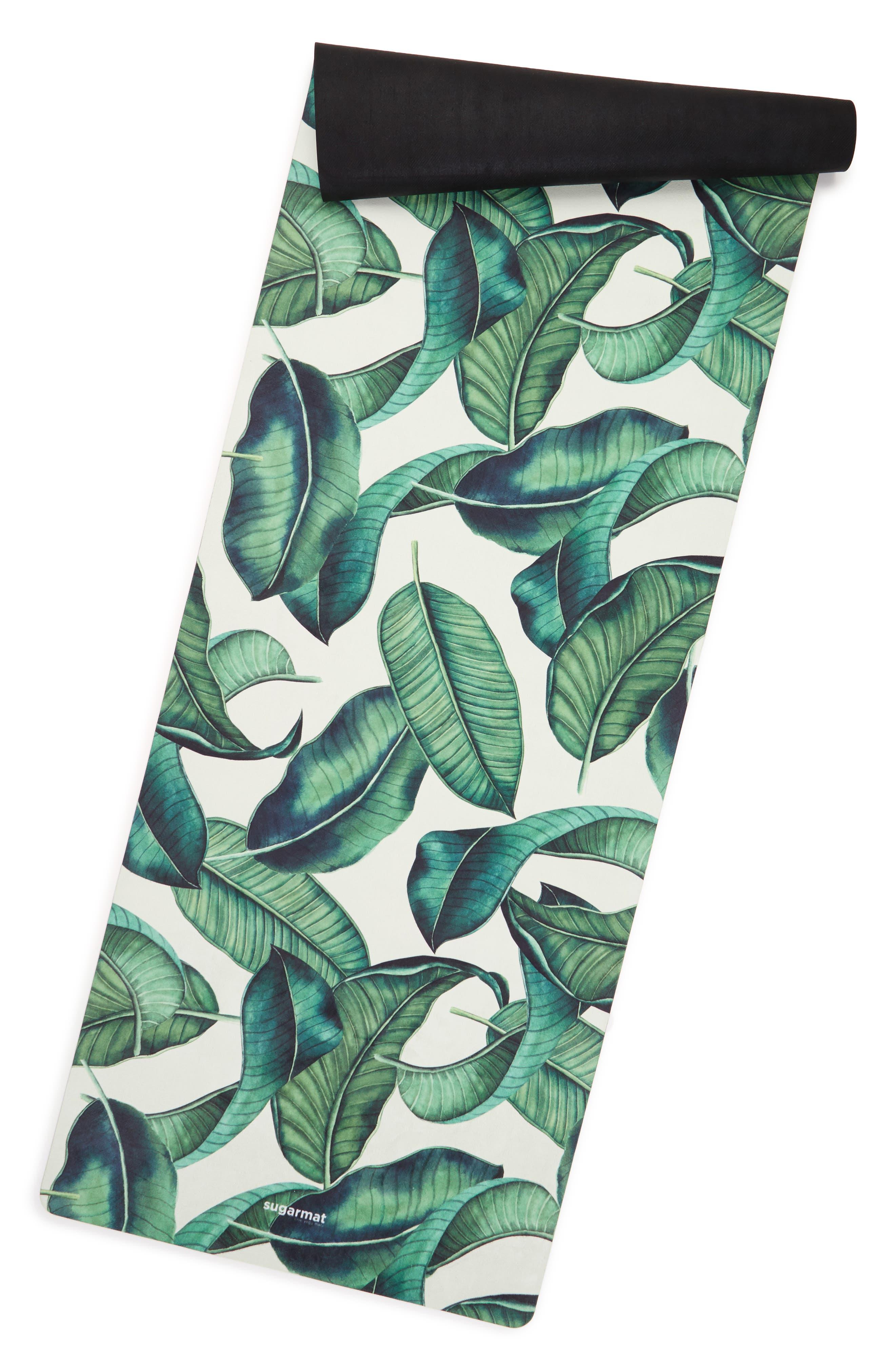 Tropical Leaf Yoga Mat,                             Alternate thumbnail 2, color,                             Natural