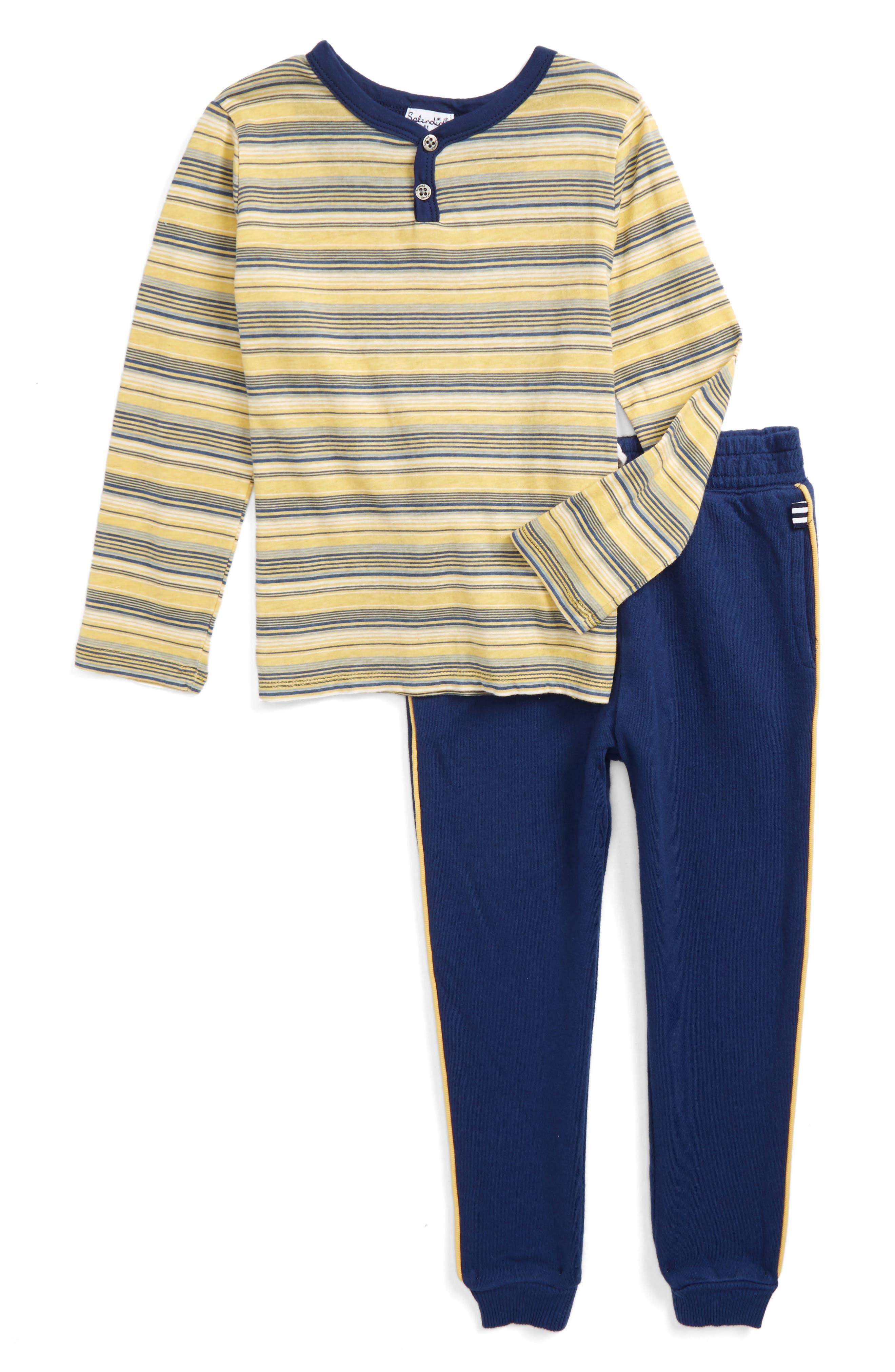 Splendid Stripe Henley Top & Sweatpants (Toddler Boys & Little Boys)