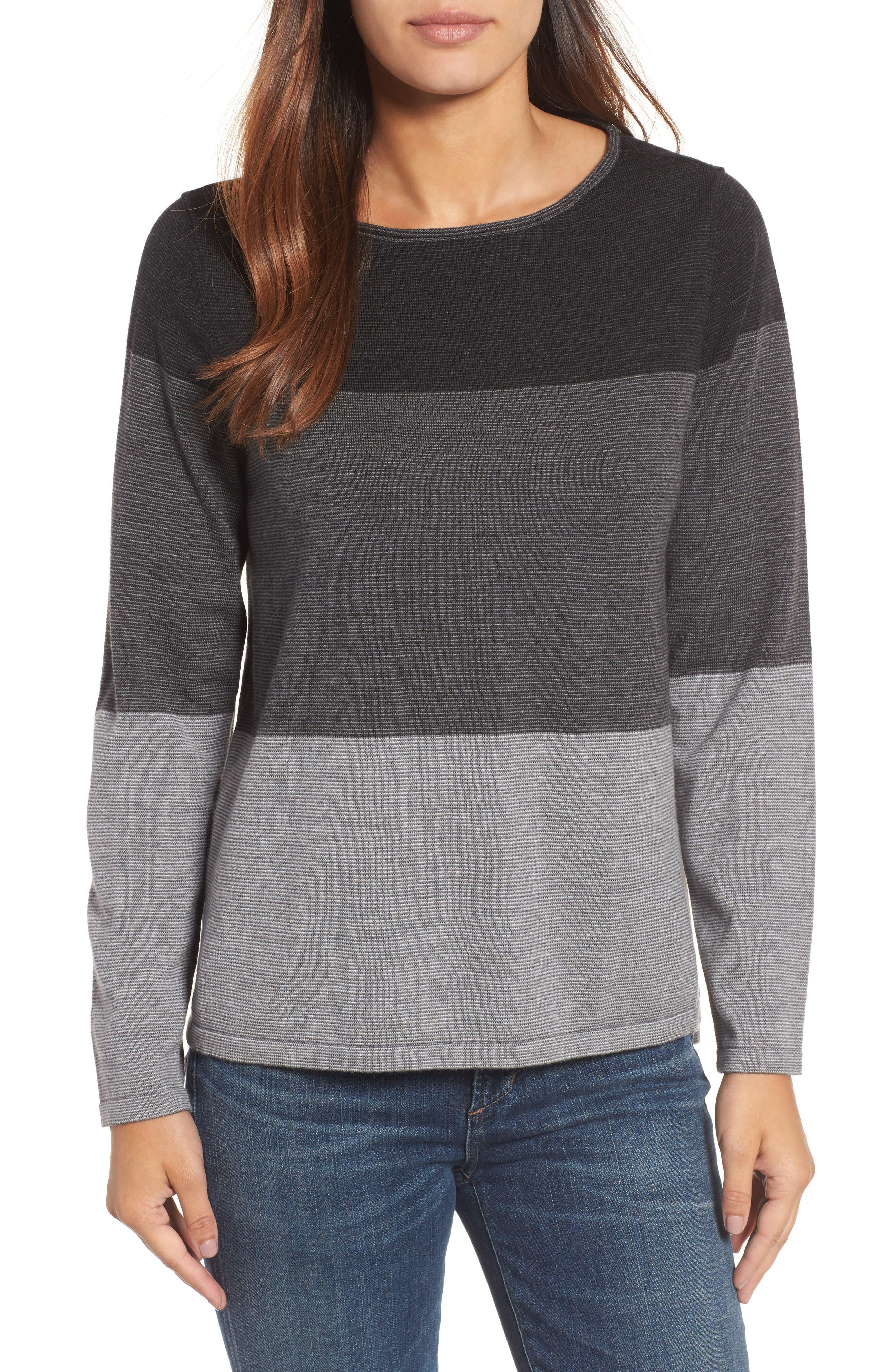 Bateau Neck Stripe Merino Wool Sweater,                         Main,                         color, Ash