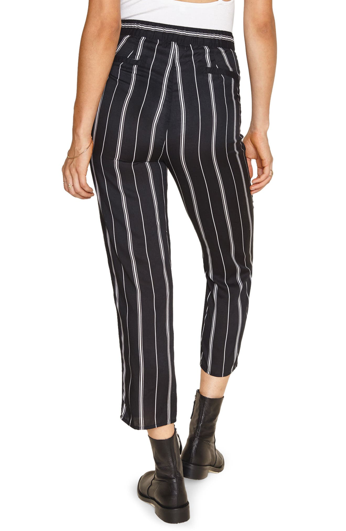 Mirabel Stripe Crop Pants,                             Alternate thumbnail 3, color,                             Black