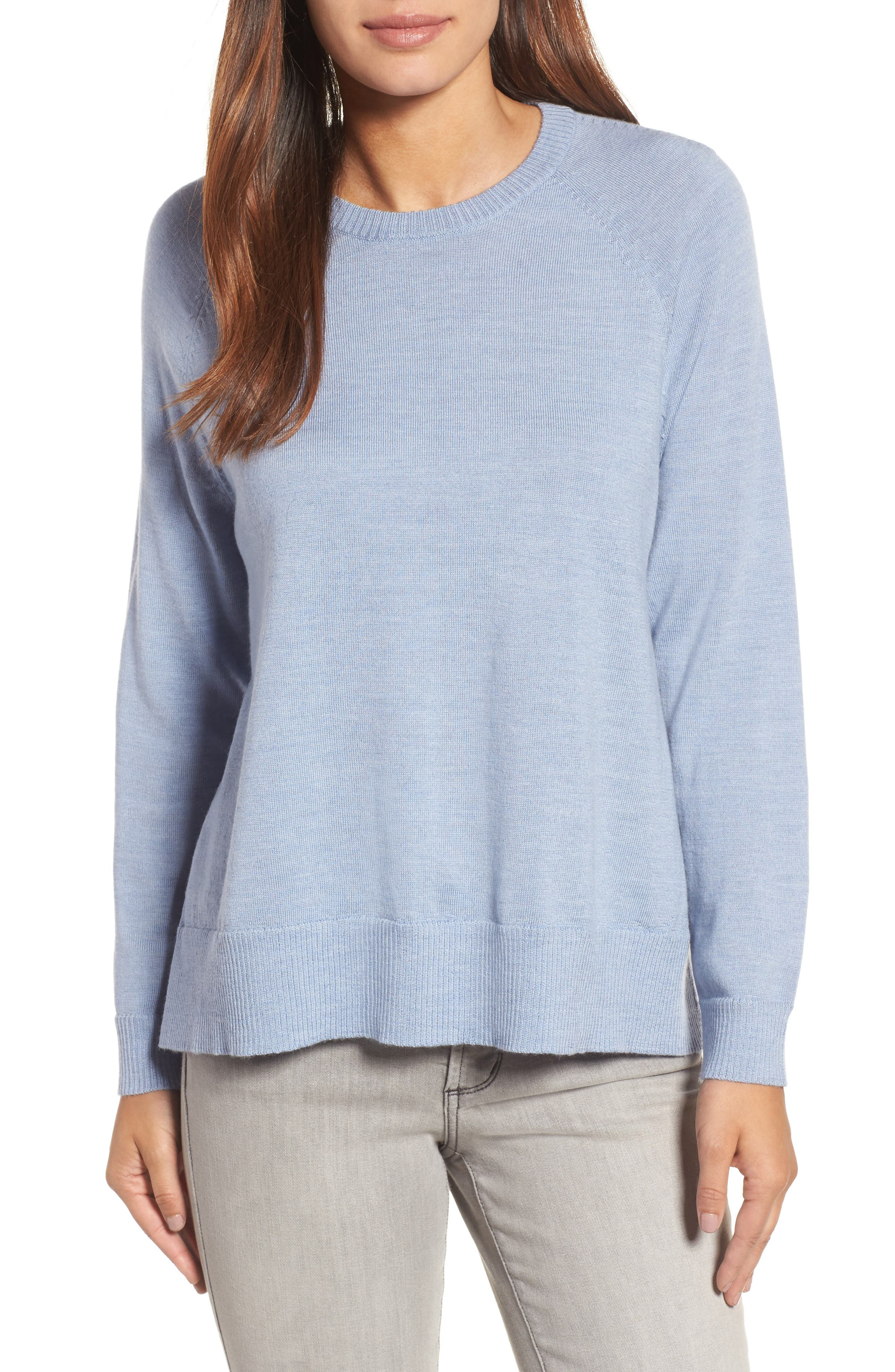 Side Slit Merino Wool Sweater,                             Main thumbnail 1, color,                             Delphine