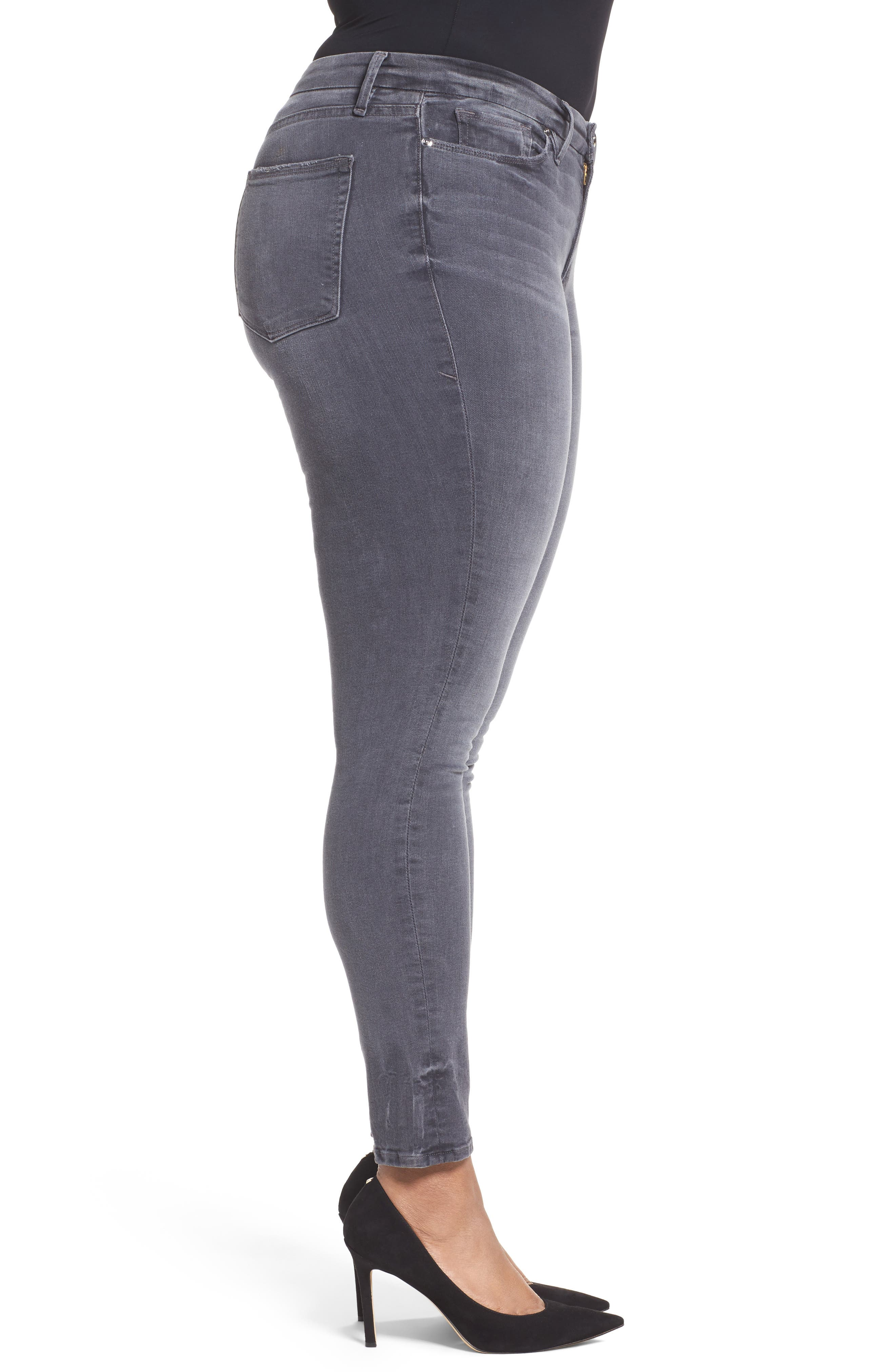 Alternate Image 8  - Good American Good Legs High Waist Skinny Jeans (Grey 002) (Extended Sizes)
