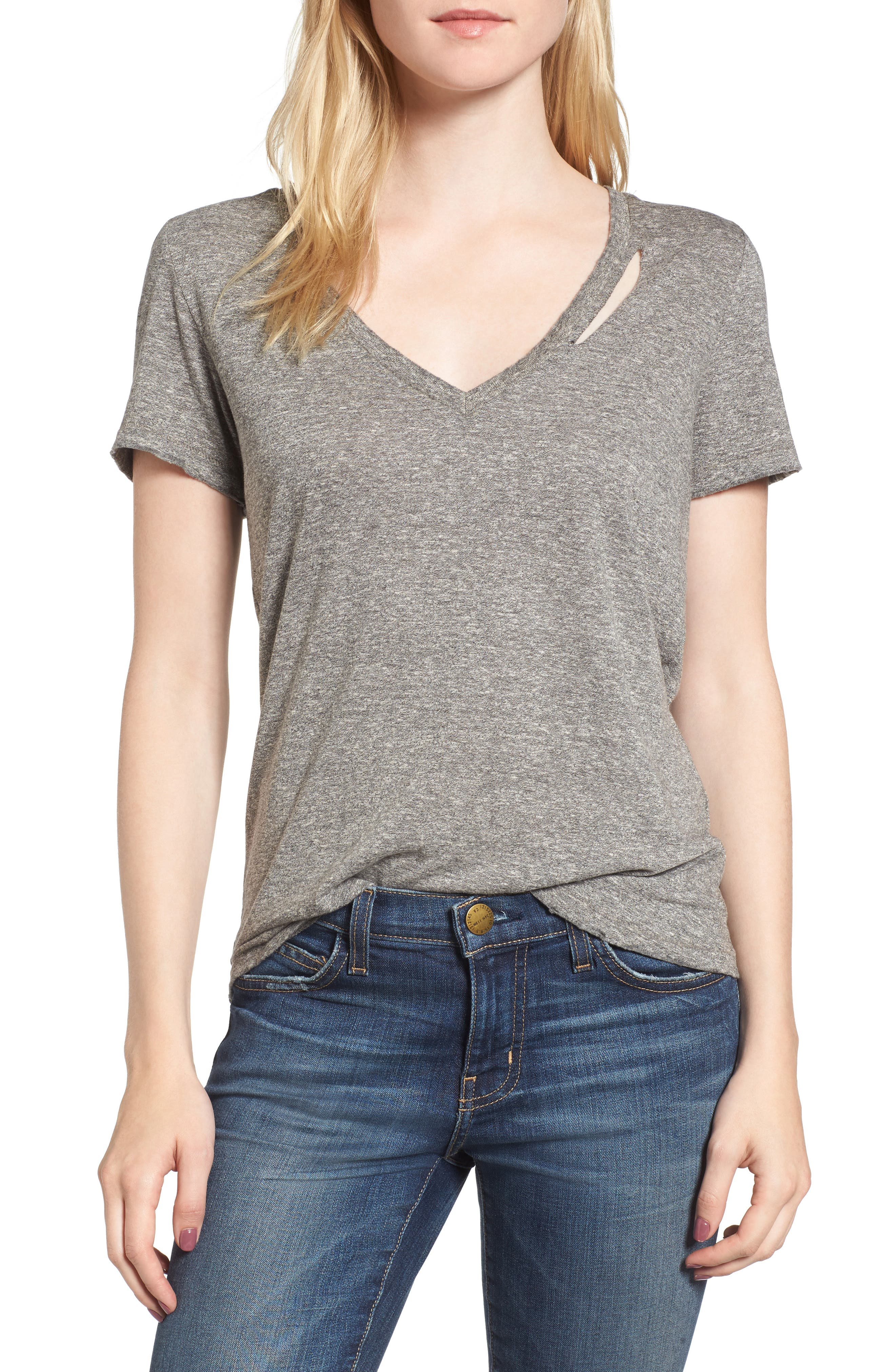 Ringo Distressed Tee,                             Main thumbnail 1, color,                             Heather Grey