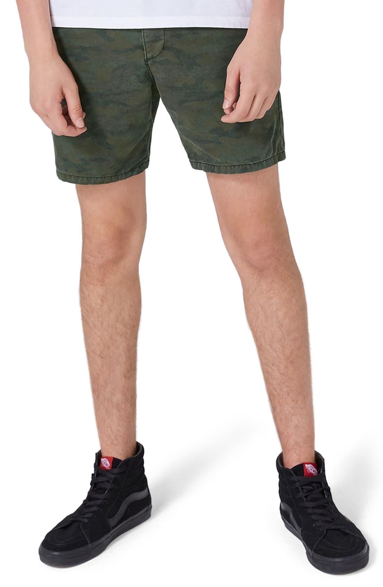 Topman Camo Skinny Fit Chino Shorts