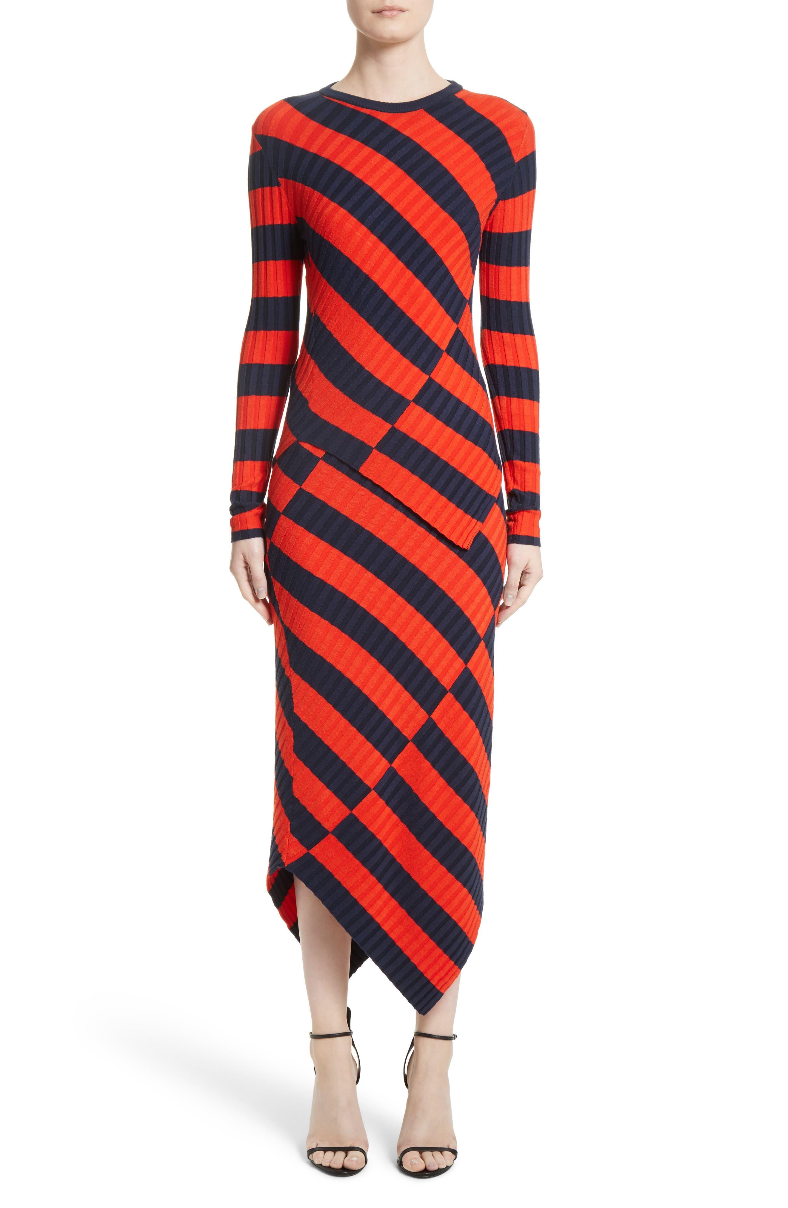 Asymmetrical Stripe Sweater,                             Alternate thumbnail 8, color,                             Persimmon