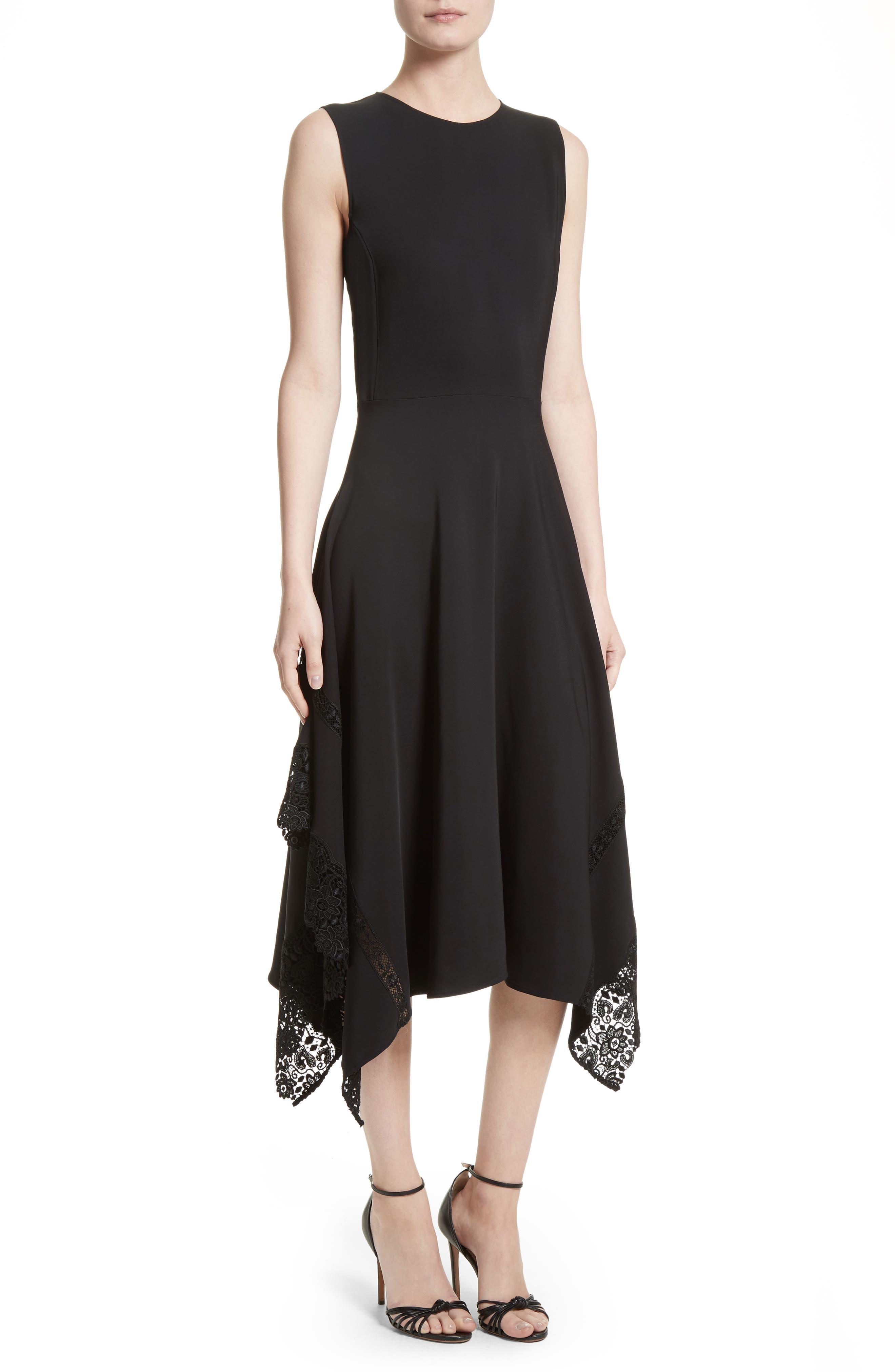 Lace Hem Midi Dress,                             Alternate thumbnail 6, color,                             Black